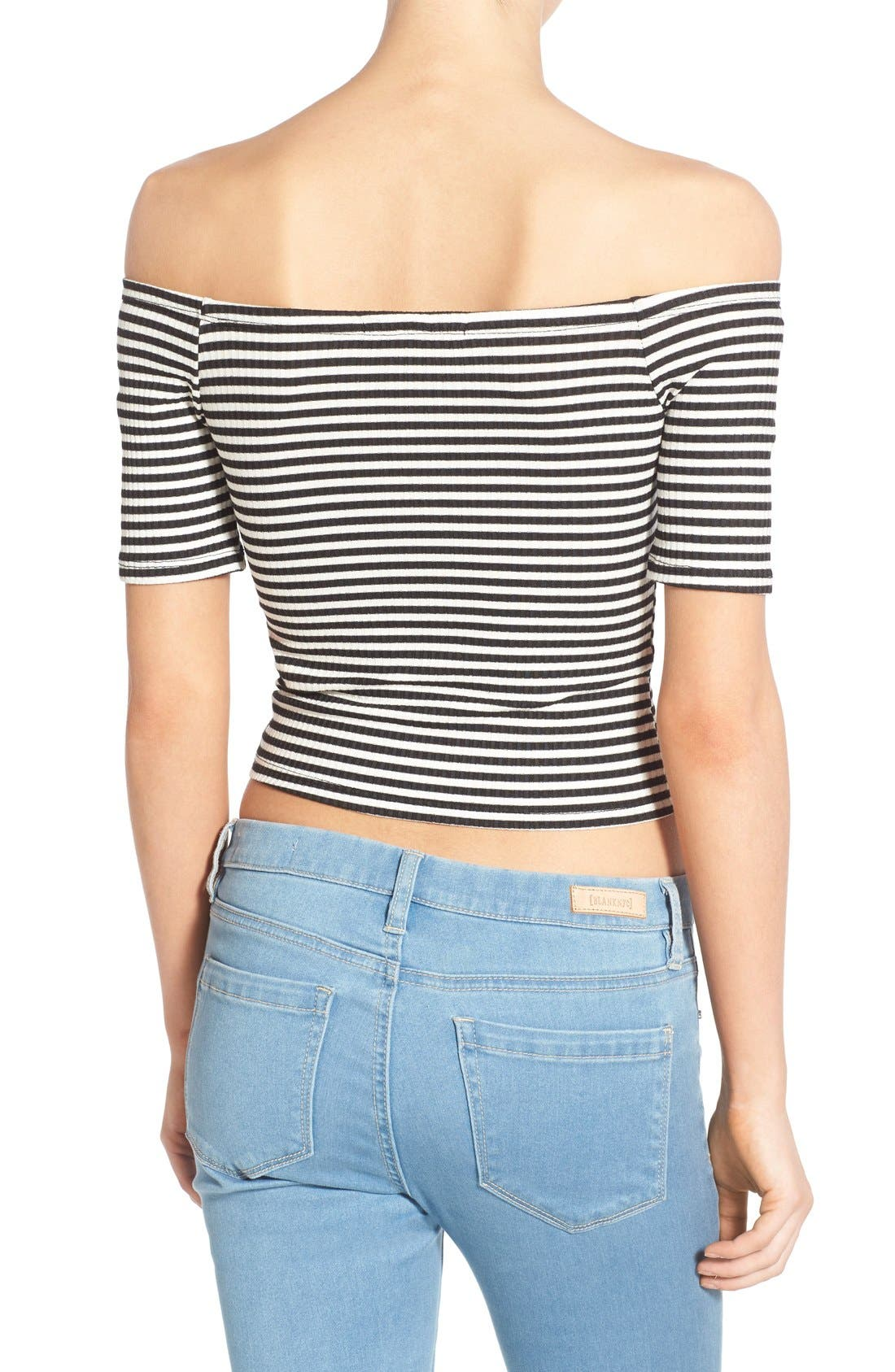 Stripe Off the Shoulder Top,                             Alternate thumbnail 2, color,                             001