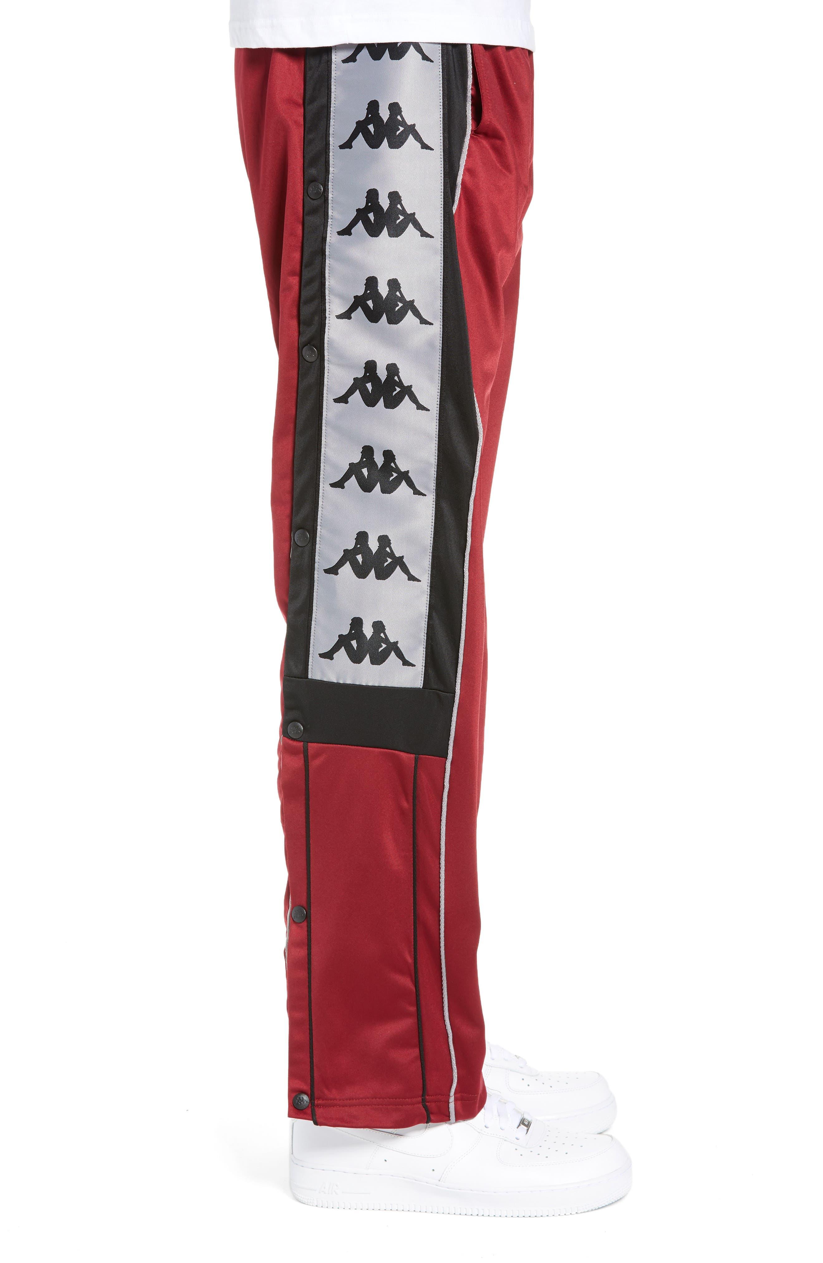 Active 222 Banda Snap-Away Warm-Up Pants,                             Alternate thumbnail 3, color,                             RED BORDEAUX BLACK