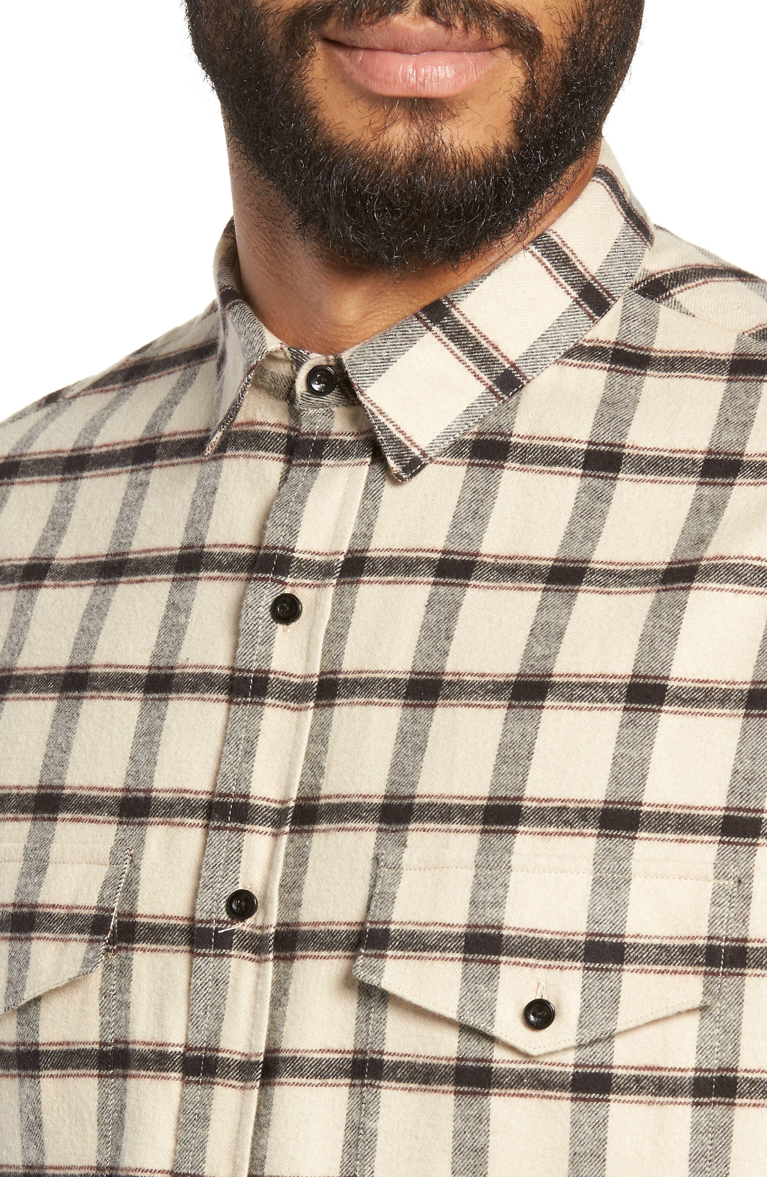 Long Sleeve Plaid Regular Fit Sport Shirt,                             Alternate thumbnail 2, color,                             BEIGE/ BLACK