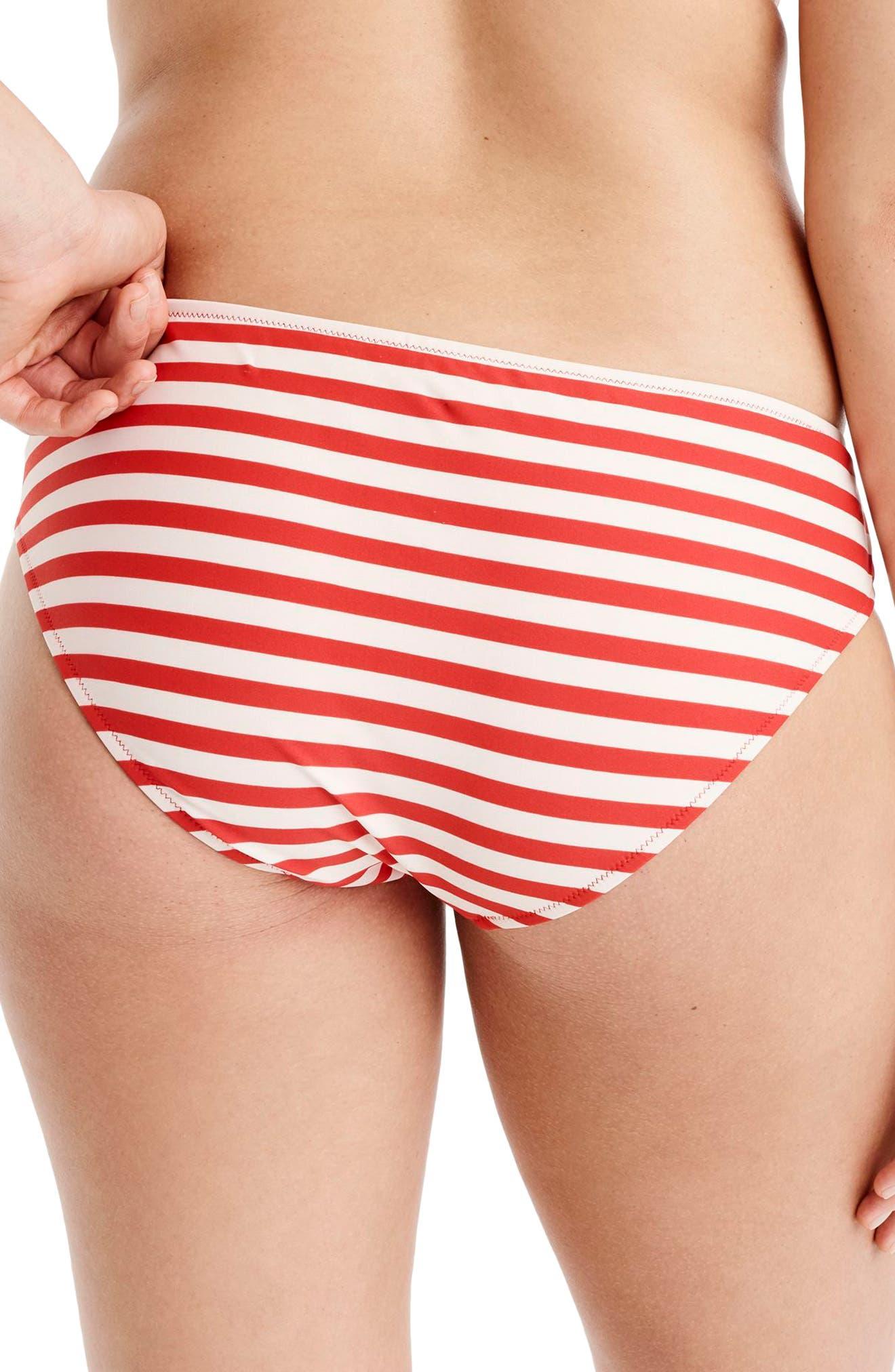 Classic Stripe Surf Hipster Bikini Bottoms,                             Alternate thumbnail 2, color,                             VIVID FLAME IVORY