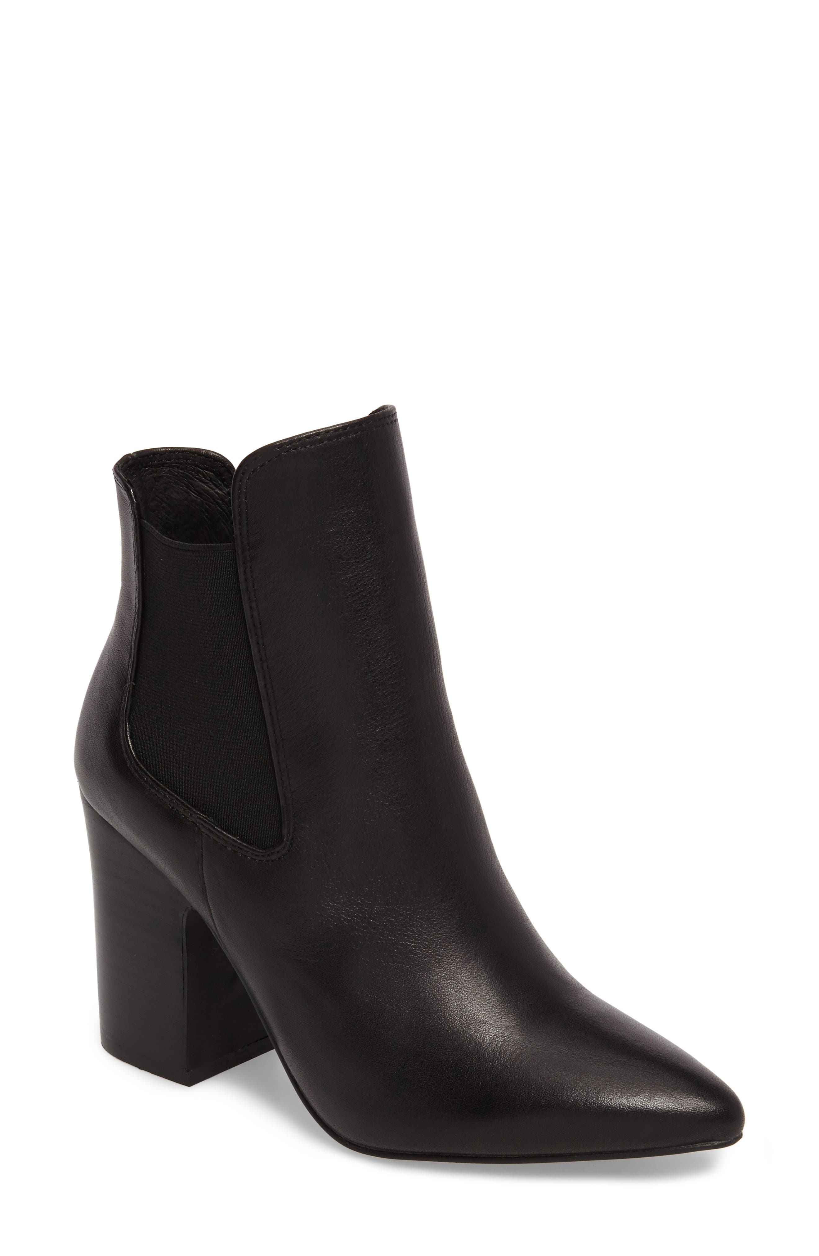 Starlight Bootie,                             Main thumbnail 1, color,                             BLACK LEATHER
