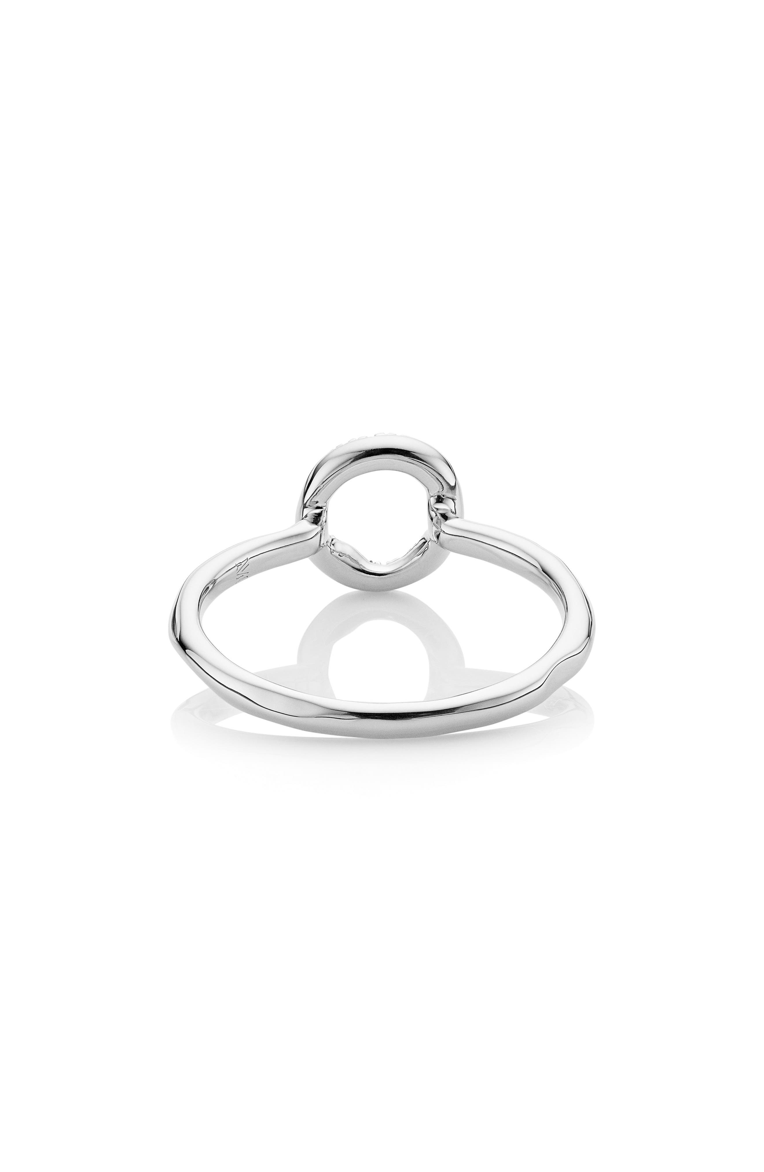 Riva Diamond Mini Circle Ring,                             Alternate thumbnail 3, color,                             SILVER/ DIAMOND