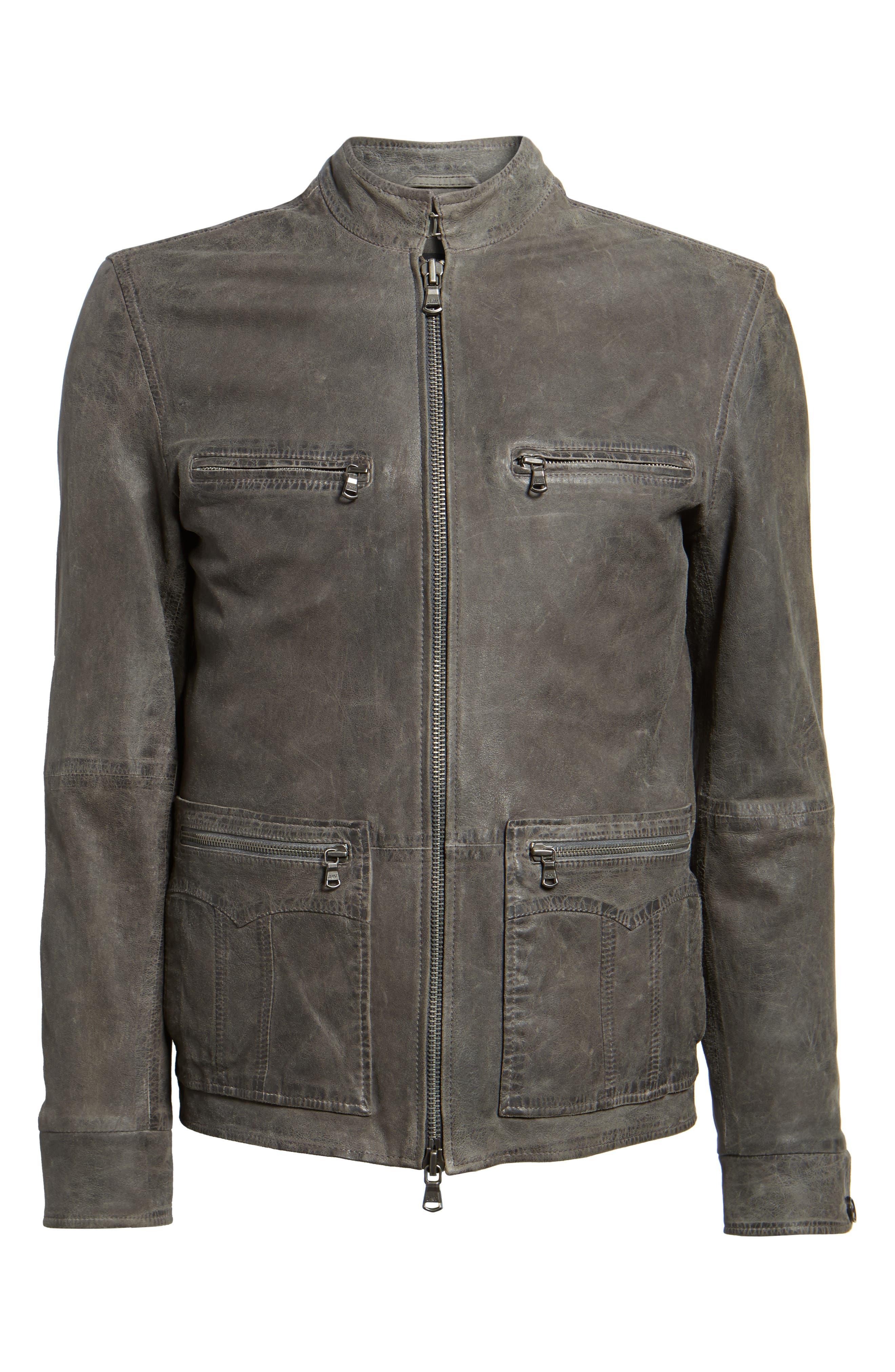 Leather Racer Jacket,                             Alternate thumbnail 5, color,                             036