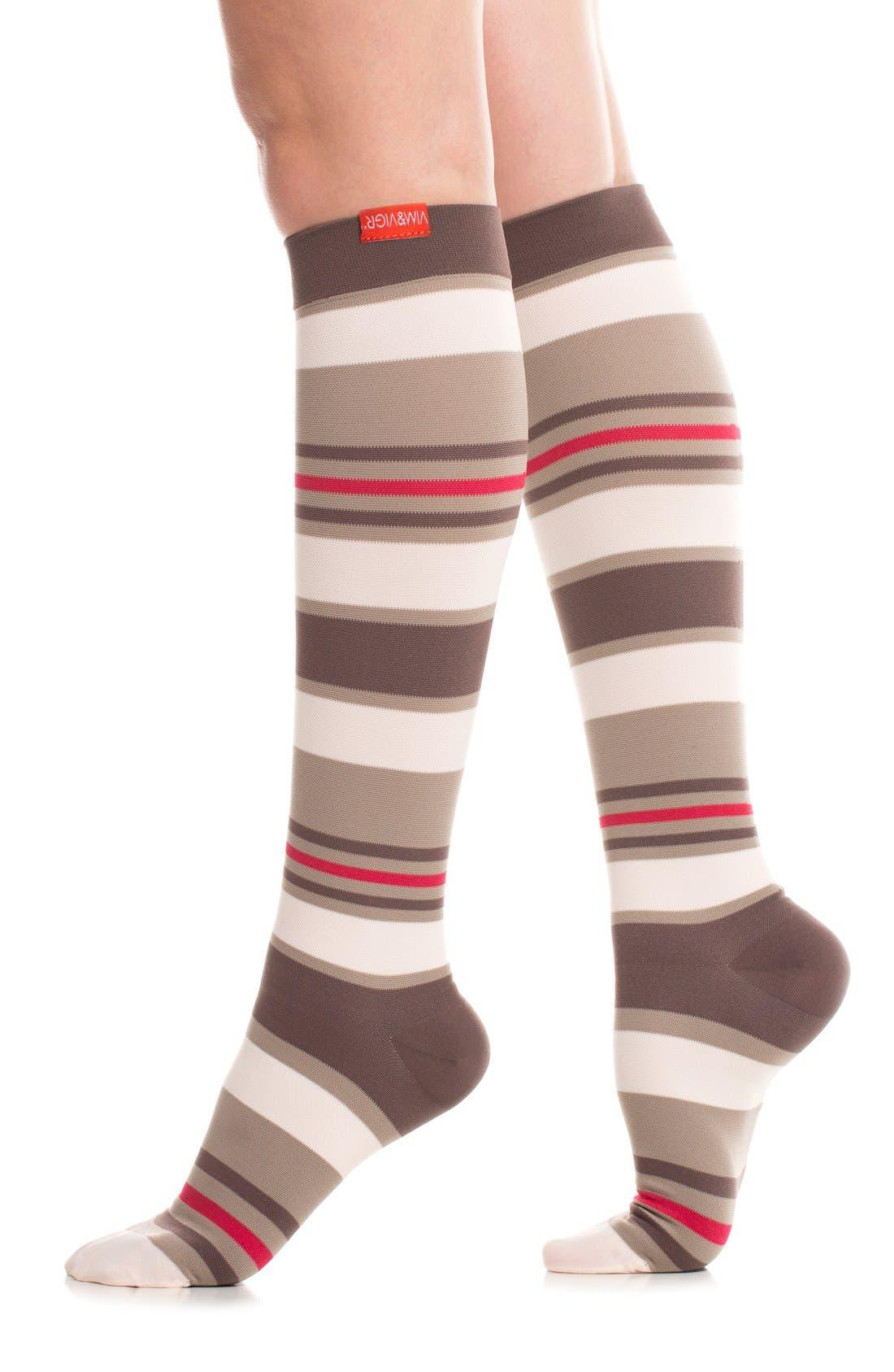 'Fun Stripe' Graduated Compression Trouser Socks,                             Main thumbnail 1, color,                             211
