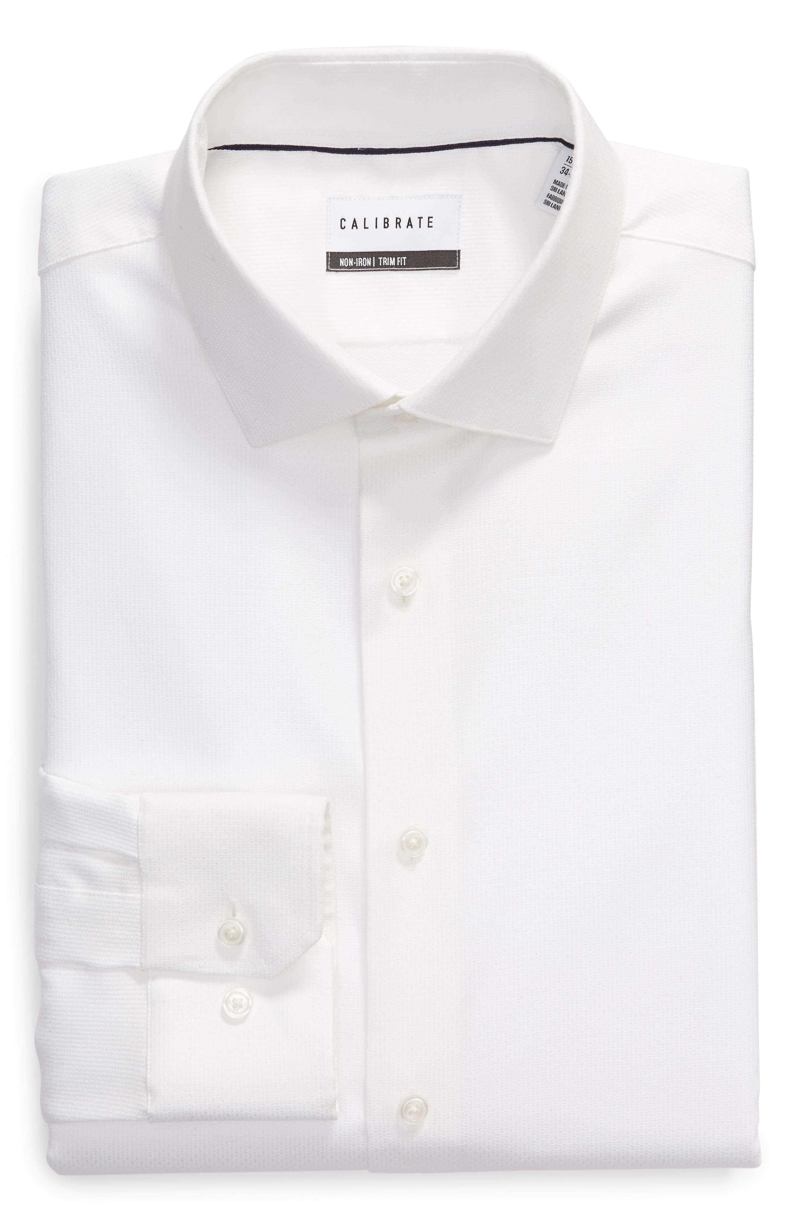 Trim Fit Non-Iron Print Dress Shirt,                             Alternate thumbnail 5, color,                             WHITE