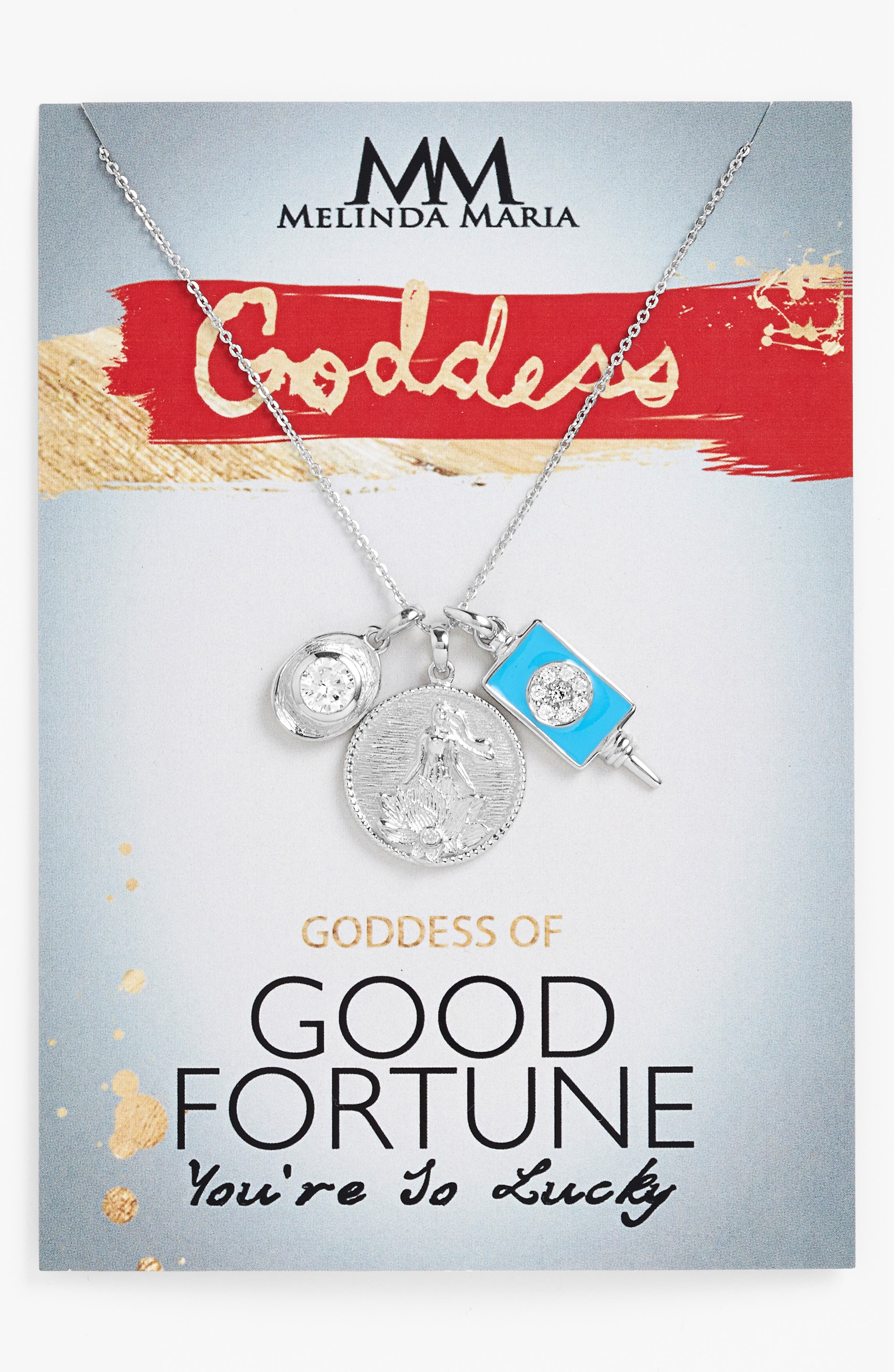 Goddess of Good Fortune Cluster Pendant Necklace,                         Main,                         color, 040