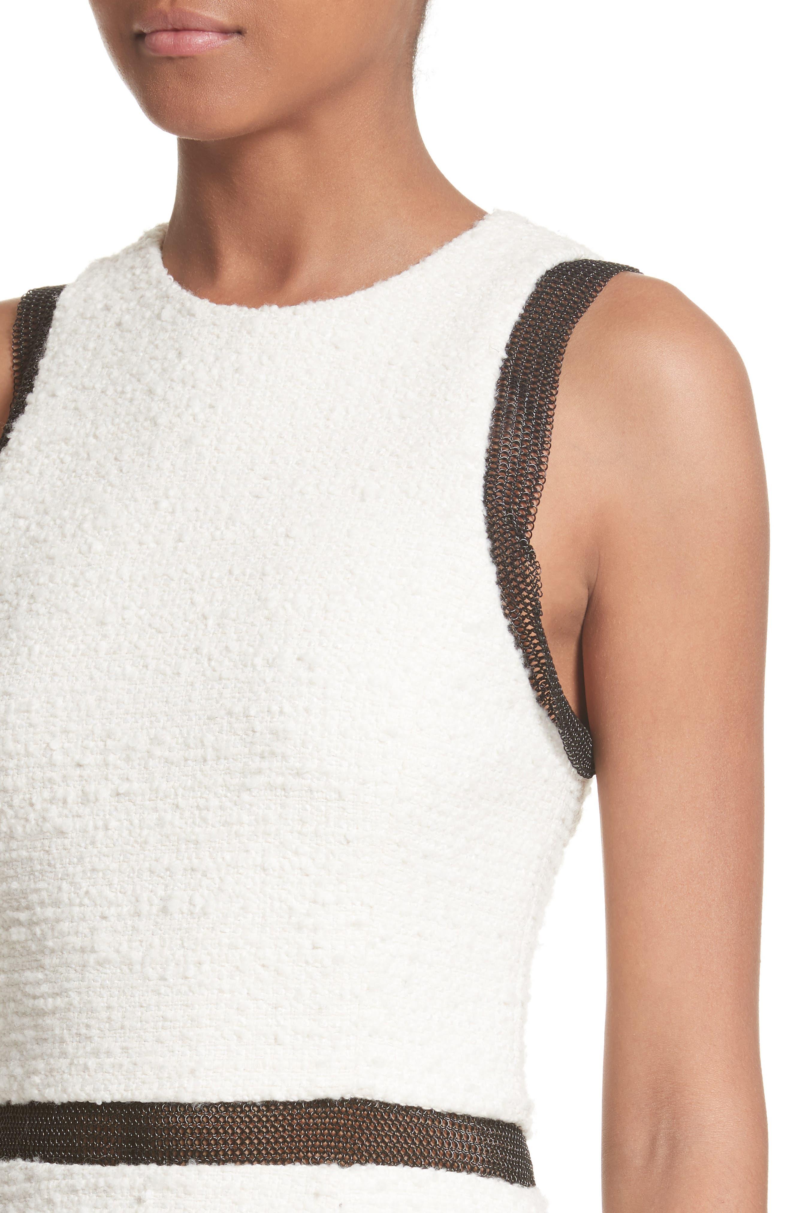 Chain Mail Trim Tweed Dress,                             Alternate thumbnail 4, color,                             900