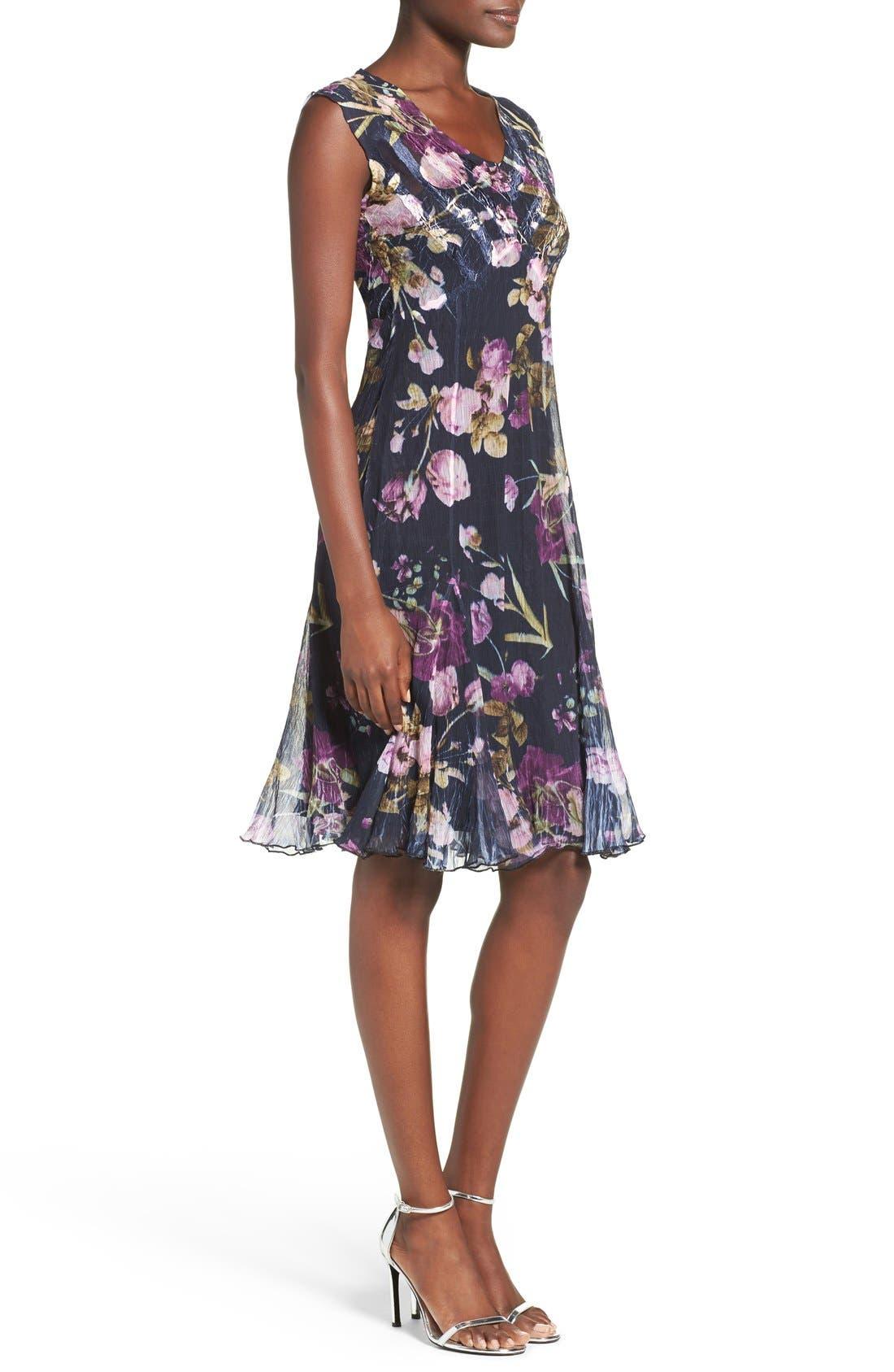Floral Print Chiffon A-Line Dress,                             Alternate thumbnail 2, color,                             009