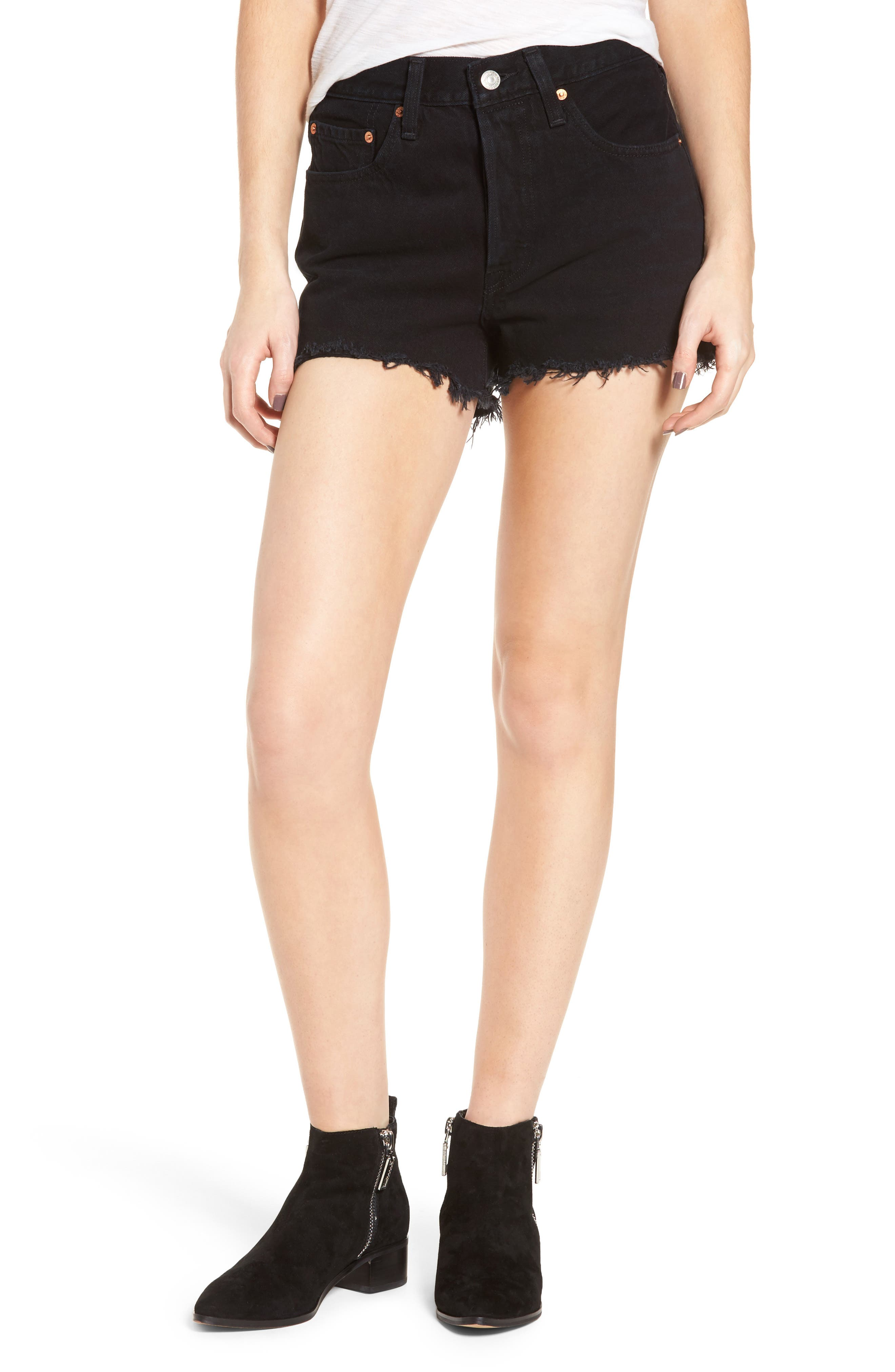 501<sup>®</sup> High Rise Denim Shorts,                         Main,                         color, 001