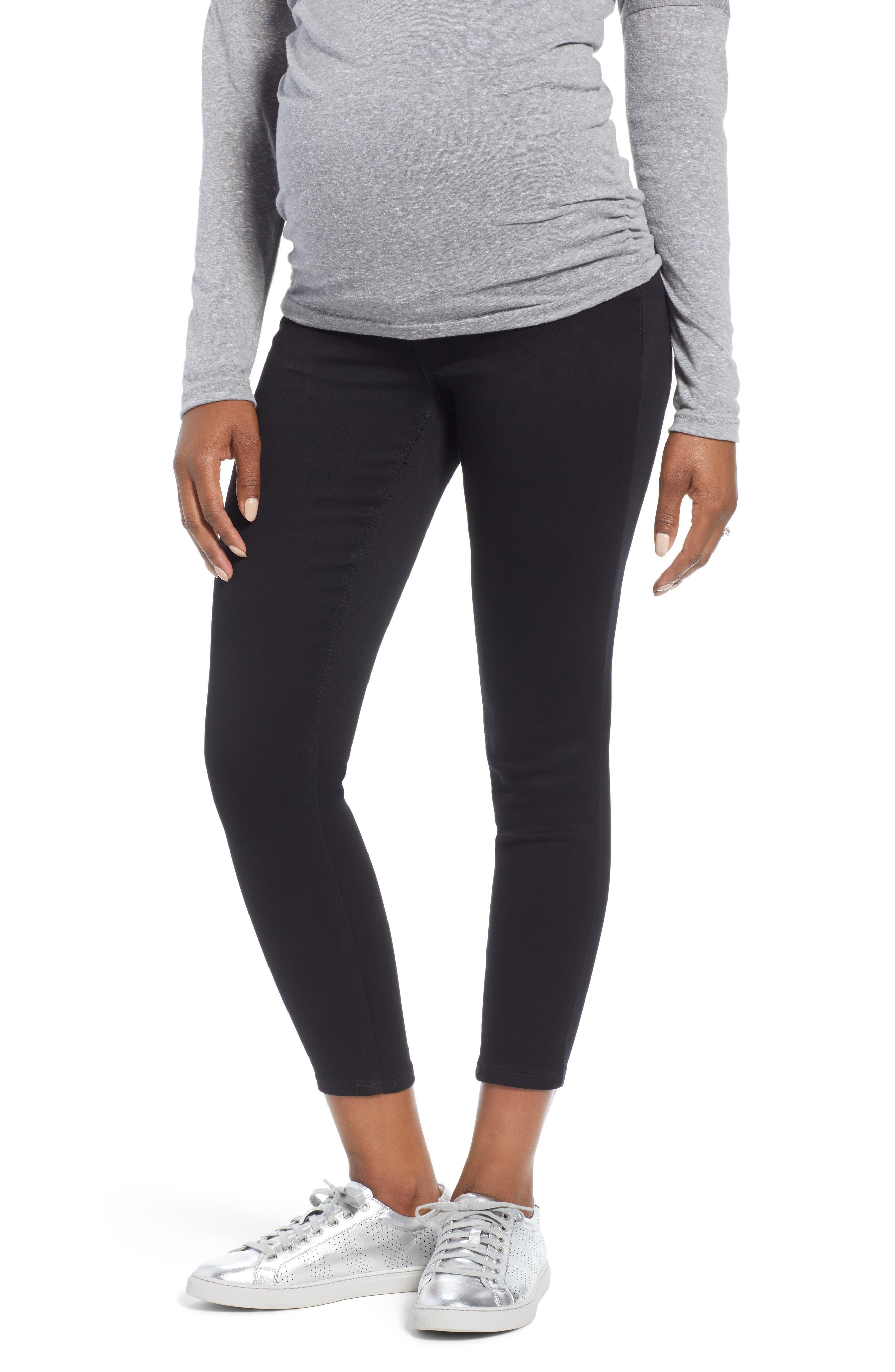 Butter Ankle Super Skinny Maternity Jeans, Main, color, BLACK