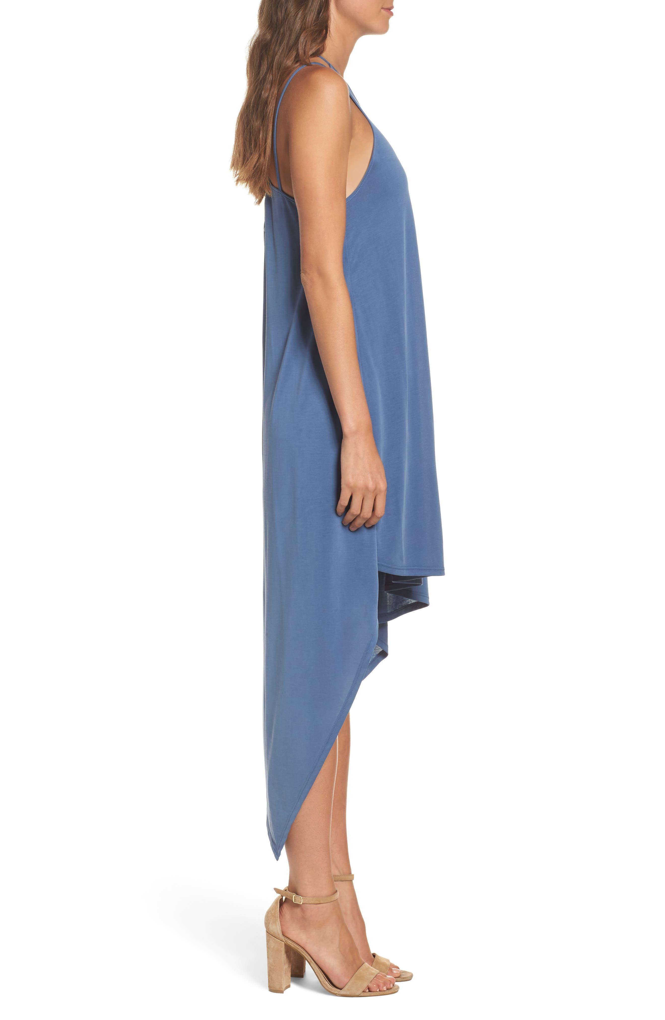 Asymmetrical Modal Blend Dress,                             Alternate thumbnail 3, color,                             492