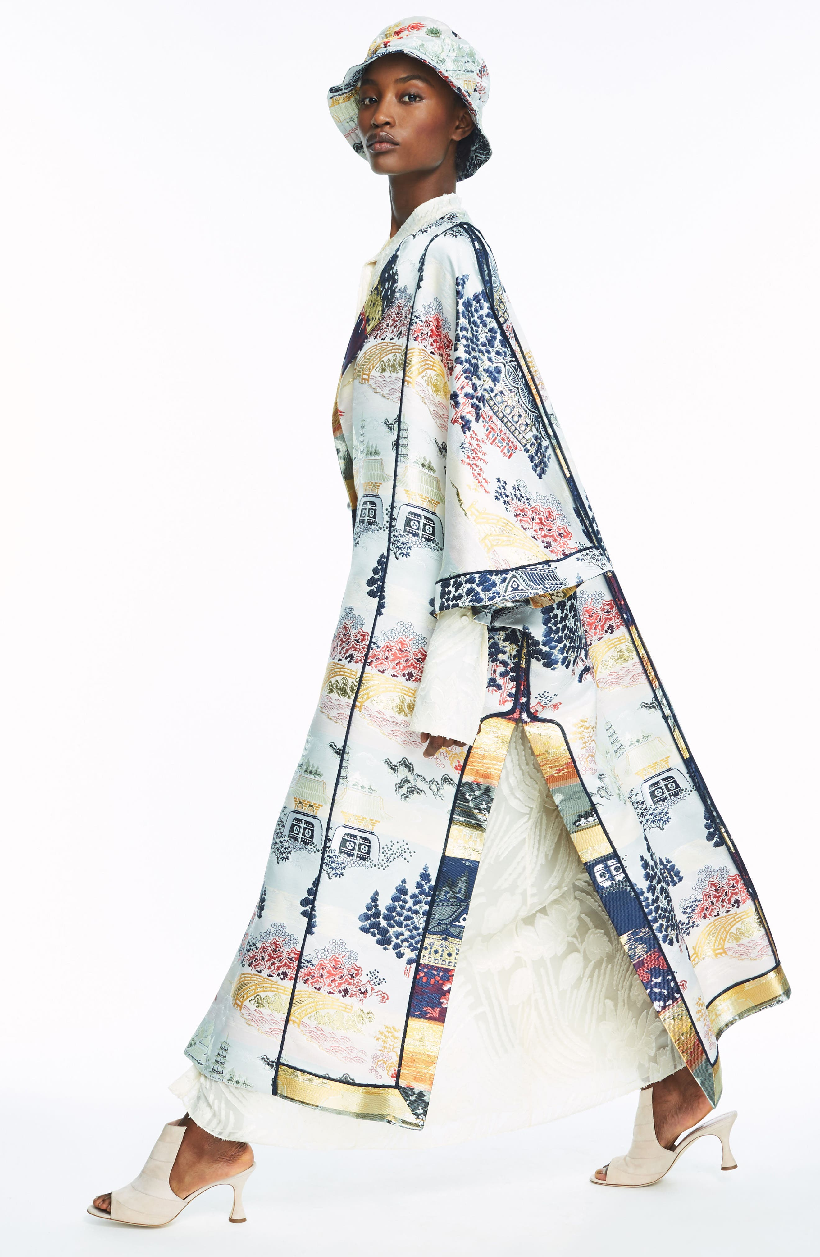 Reversible Silk Lamé Jacquard Coat,                             Alternate thumbnail 9, color,                             475