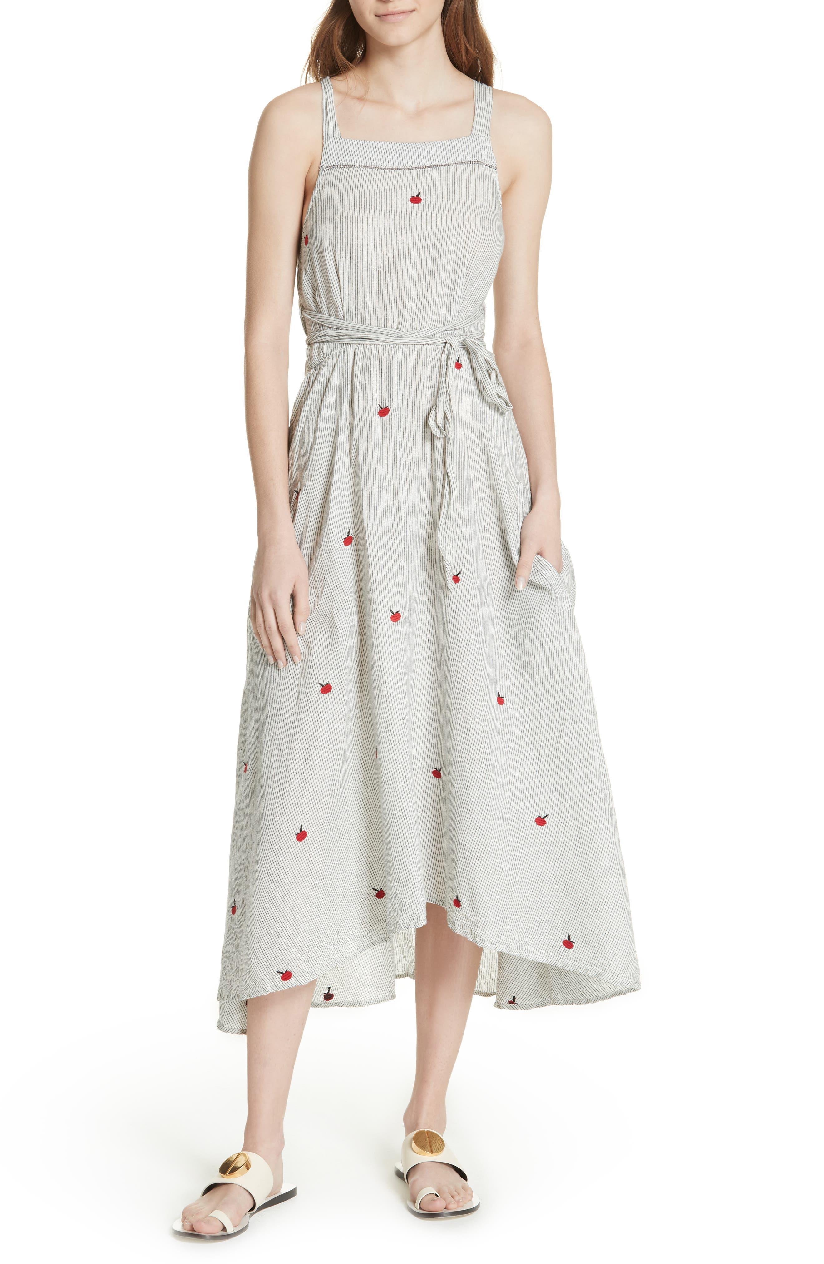 The Apron Dress,                             Main thumbnail 1, color,                             BLACK/ WHITE/ APPLE