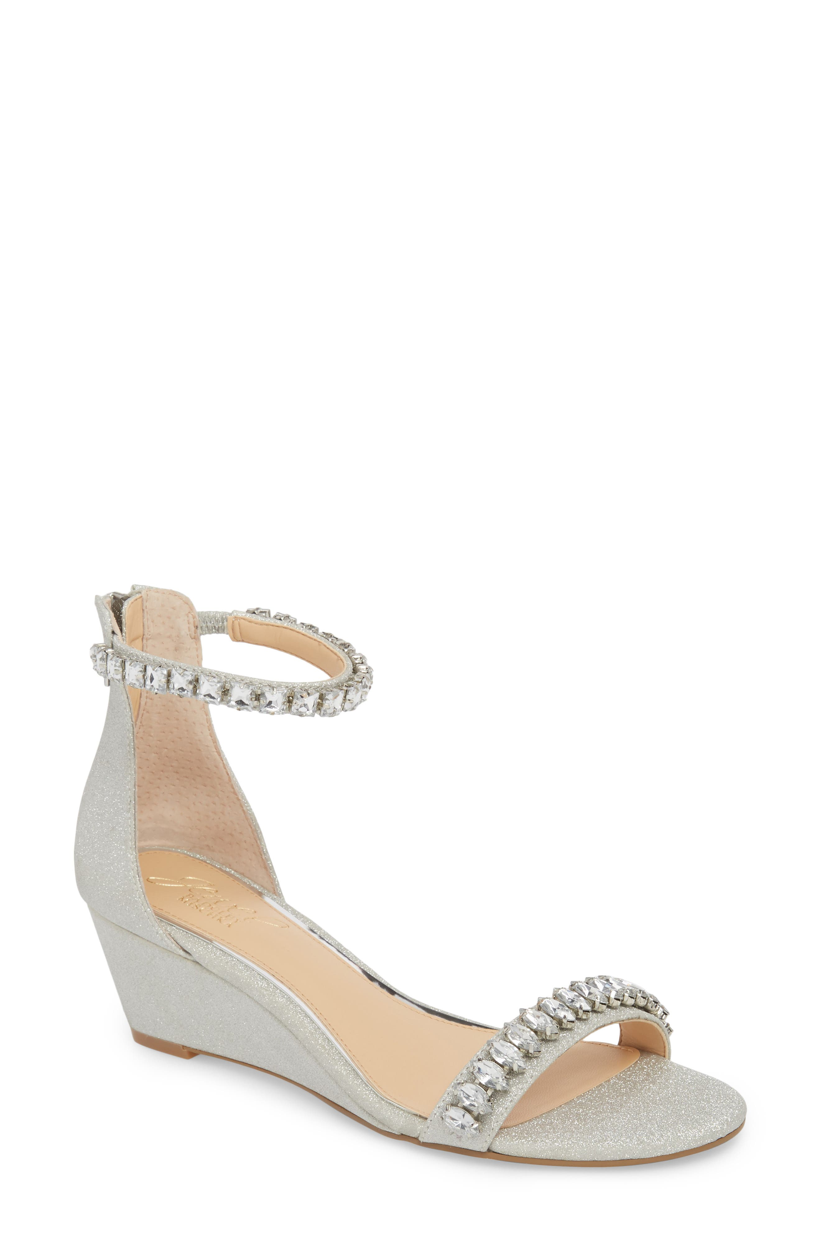 Mel Wedge Sandal,                             Main thumbnail 1, color,                             SILVER GLITTER FABRIC