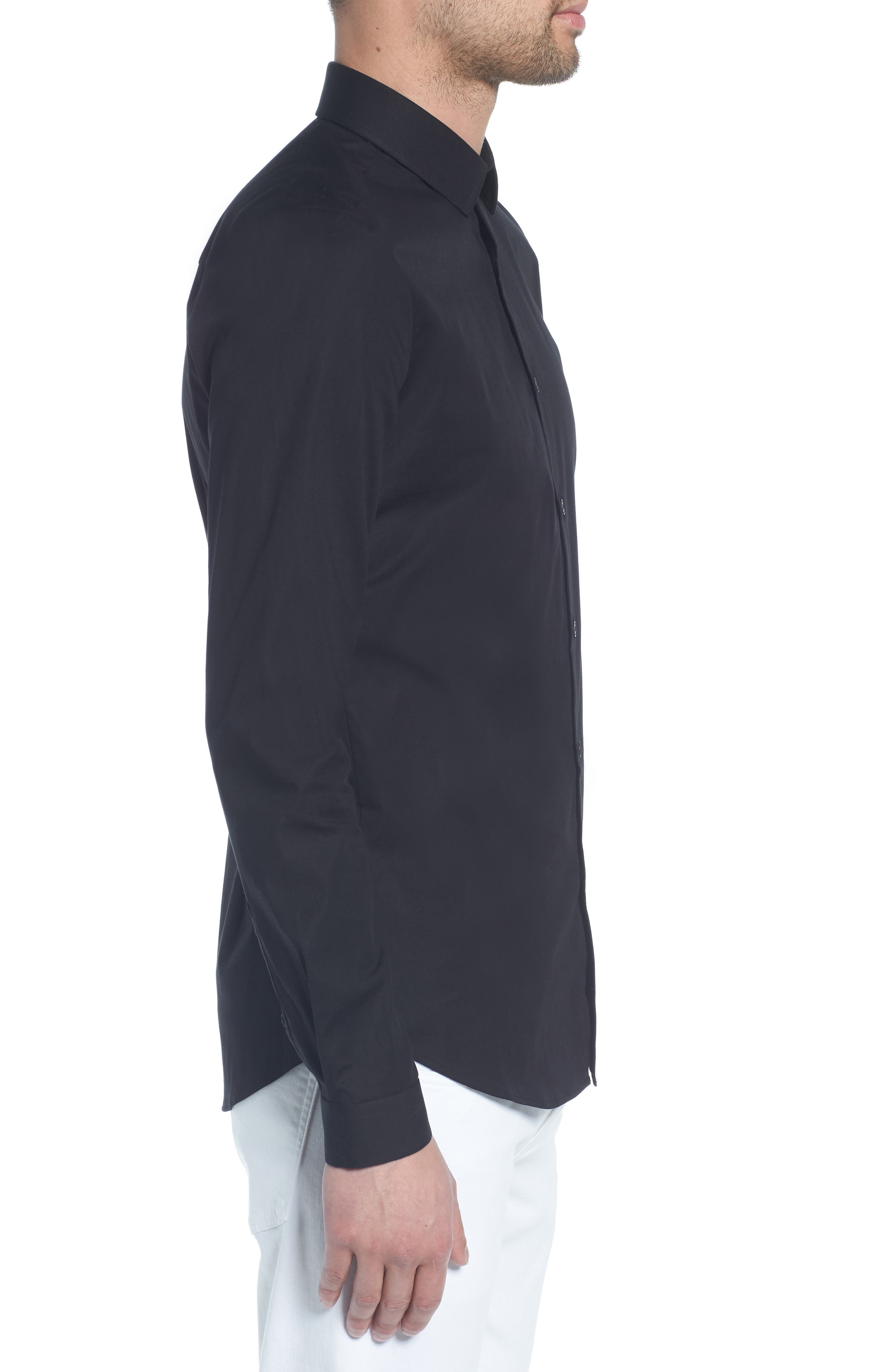 Stretch Skinny Fit Shirt,                             Alternate thumbnail 3, color,                             BLACK
