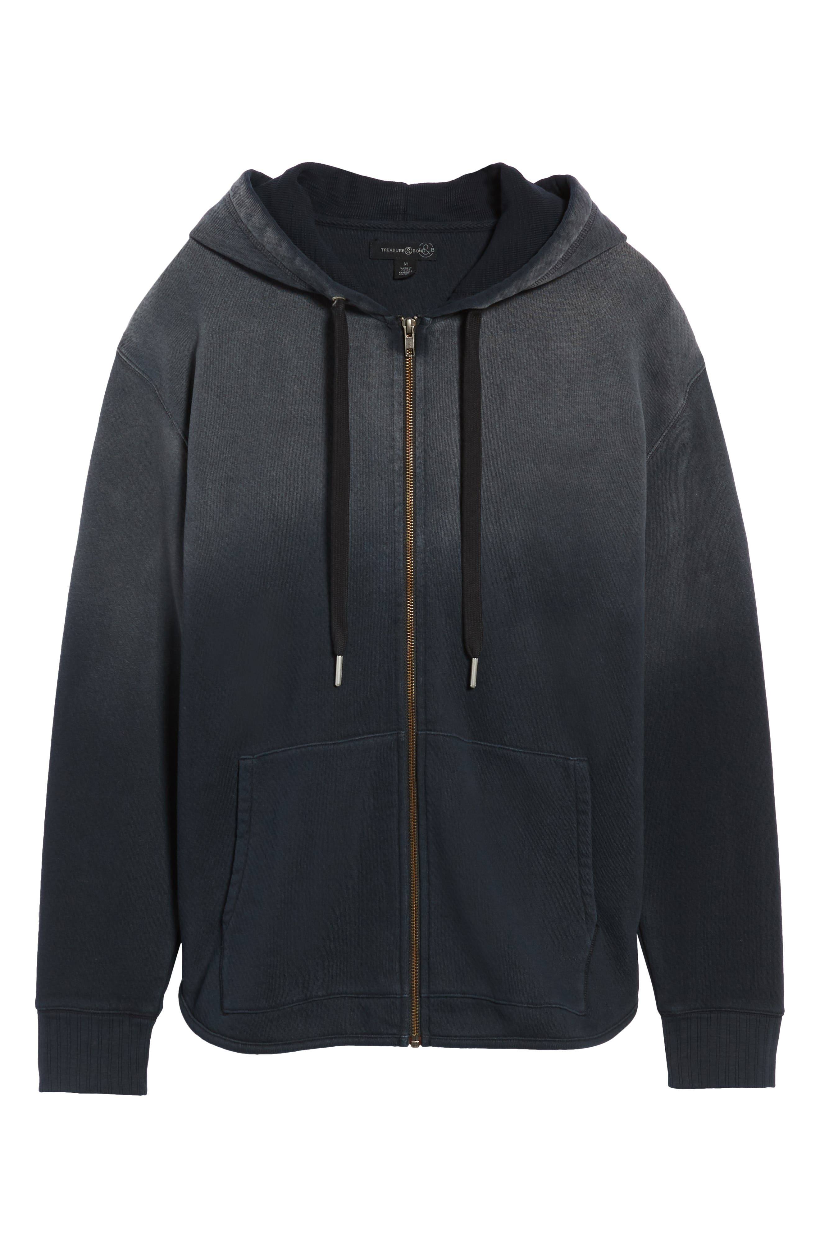 Ombré French Terry Zip Hoodie,                             Alternate thumbnail 6, color,                             BLACK ROCK