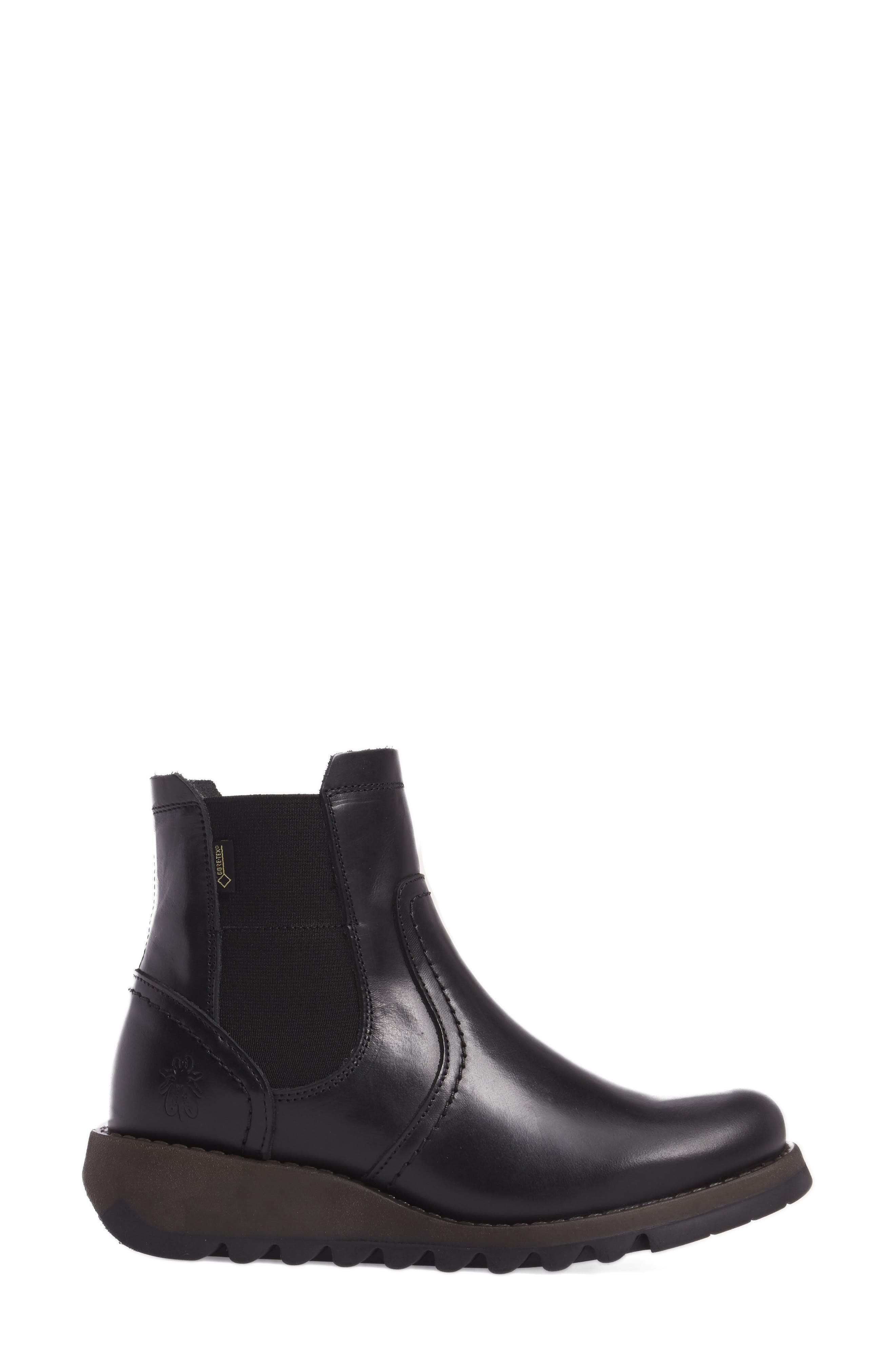 Scon Waterproof Gore-Tex<sup>®</sup> Chelsea Boot,                             Alternate thumbnail 3, color,                             BLACK LEATHER