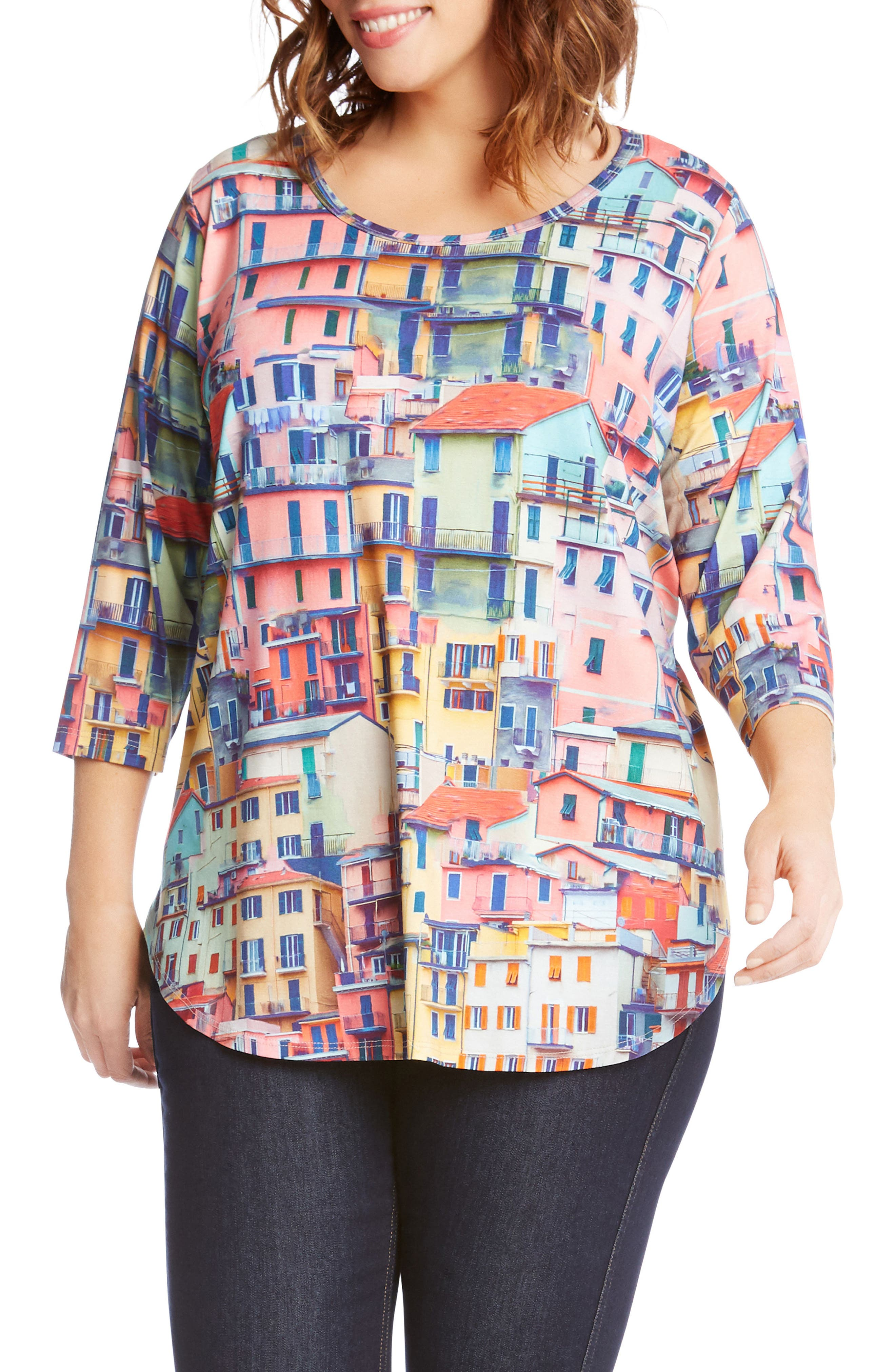 Rainbow Rooftops Three-Quarter Sleeve Top,                             Main thumbnail 1, color,