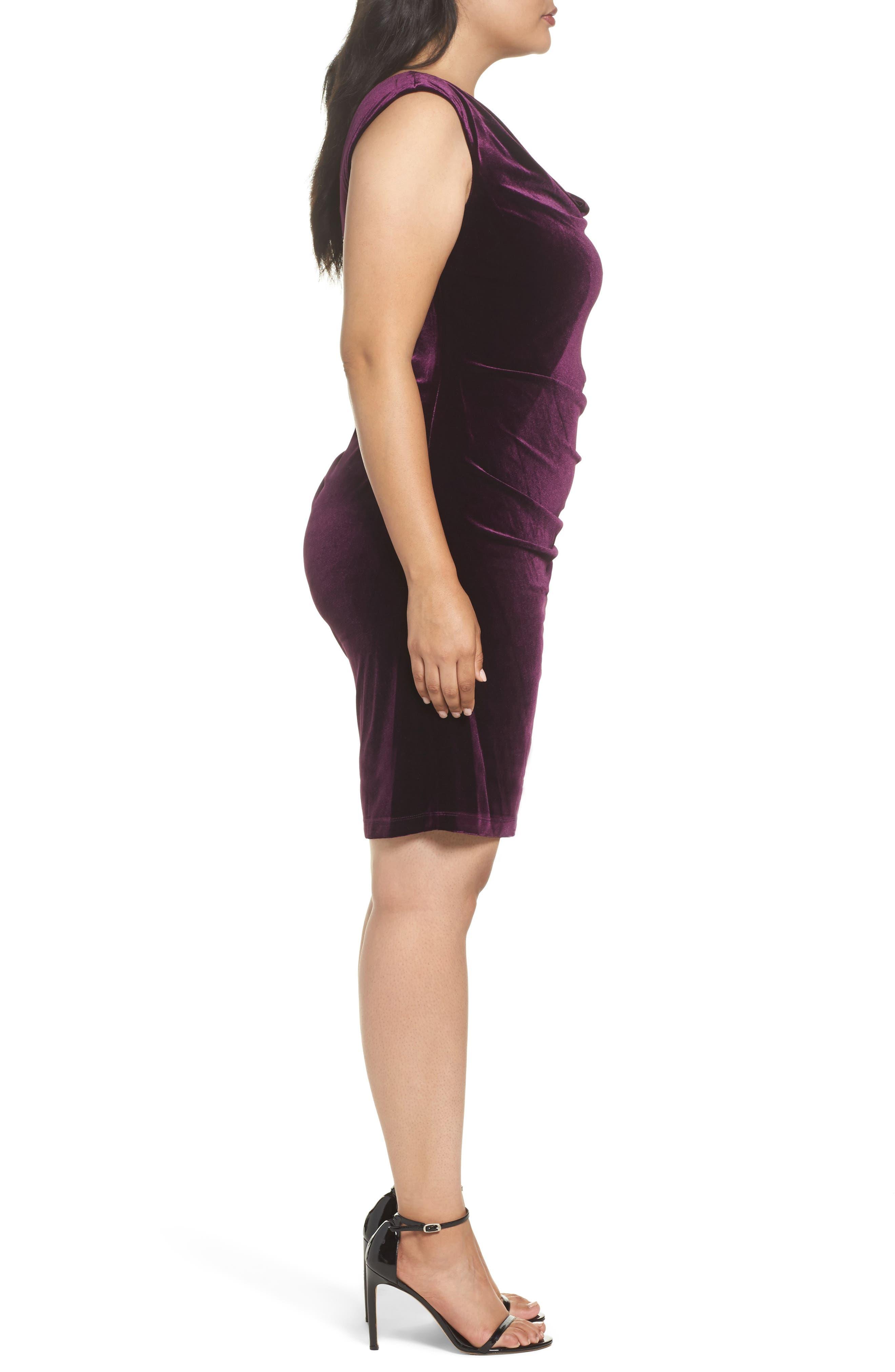 Velvet Body-Con Dress,                             Alternate thumbnail 3, color,