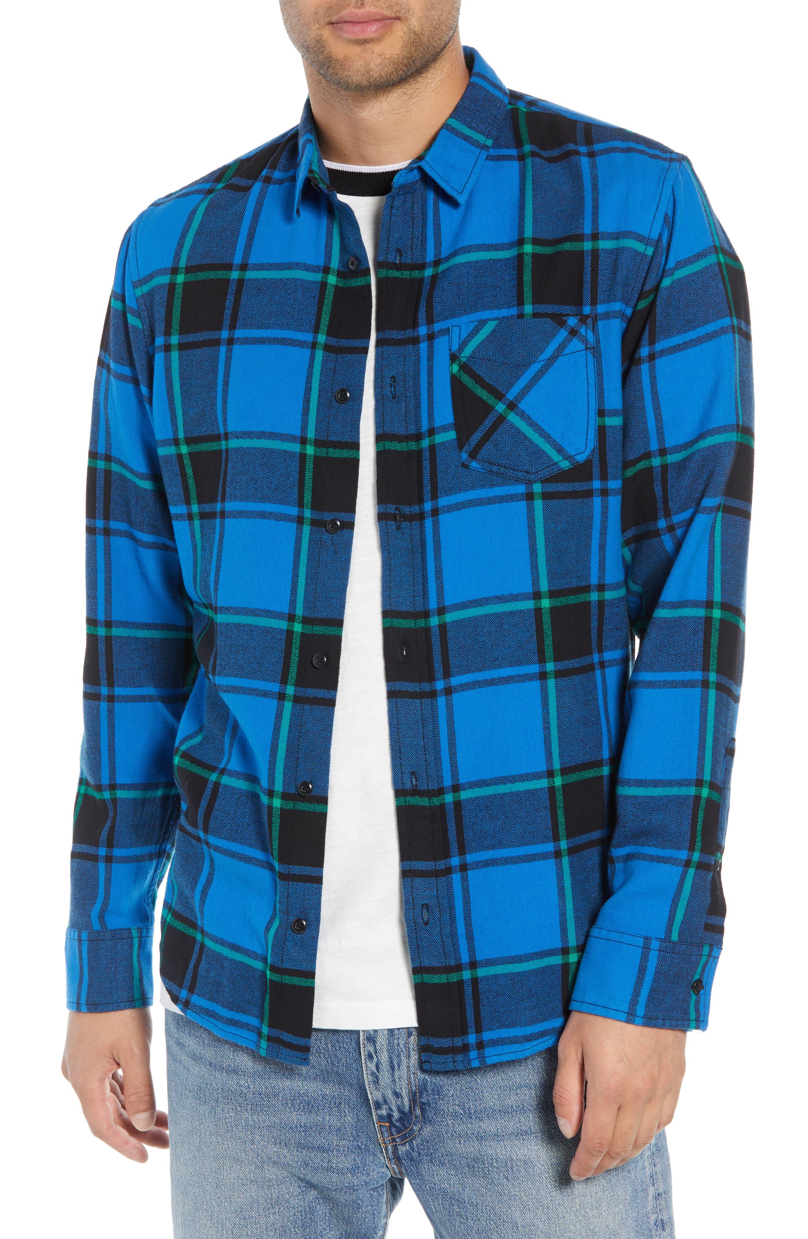 Plaid Flannel Shirt,                             Main thumbnail 1, color,                             BLUE BLACK REESE PLAID