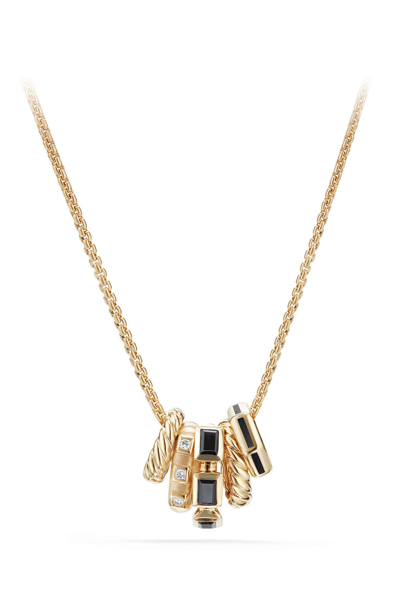 Stax Pendant Necklace with Diamonds in 18K Gold,                         Main,                         color, BLACK SPINEL