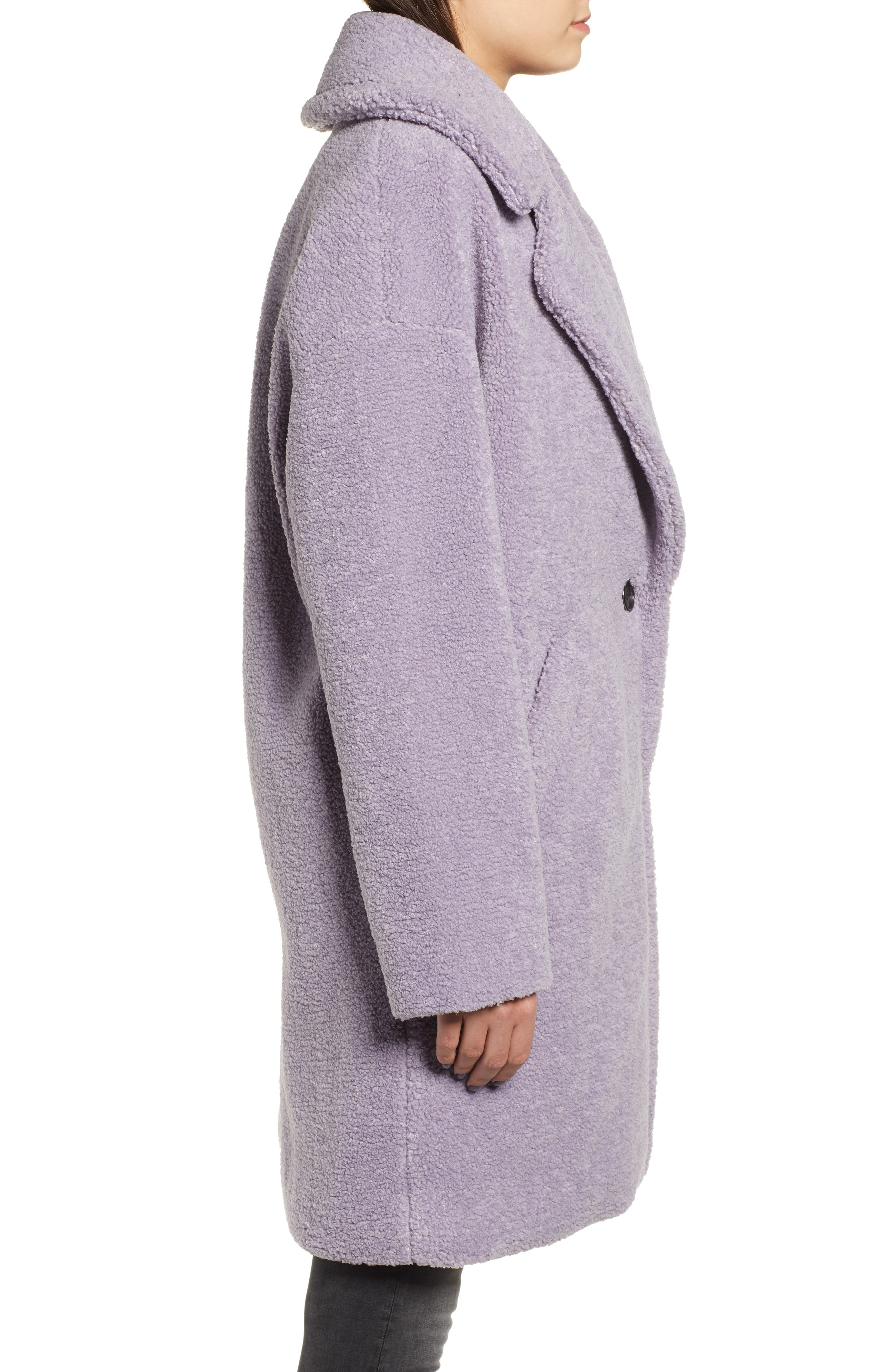 Faux Fur Teddy Coat,                             Alternate thumbnail 3, color,                             LILAC