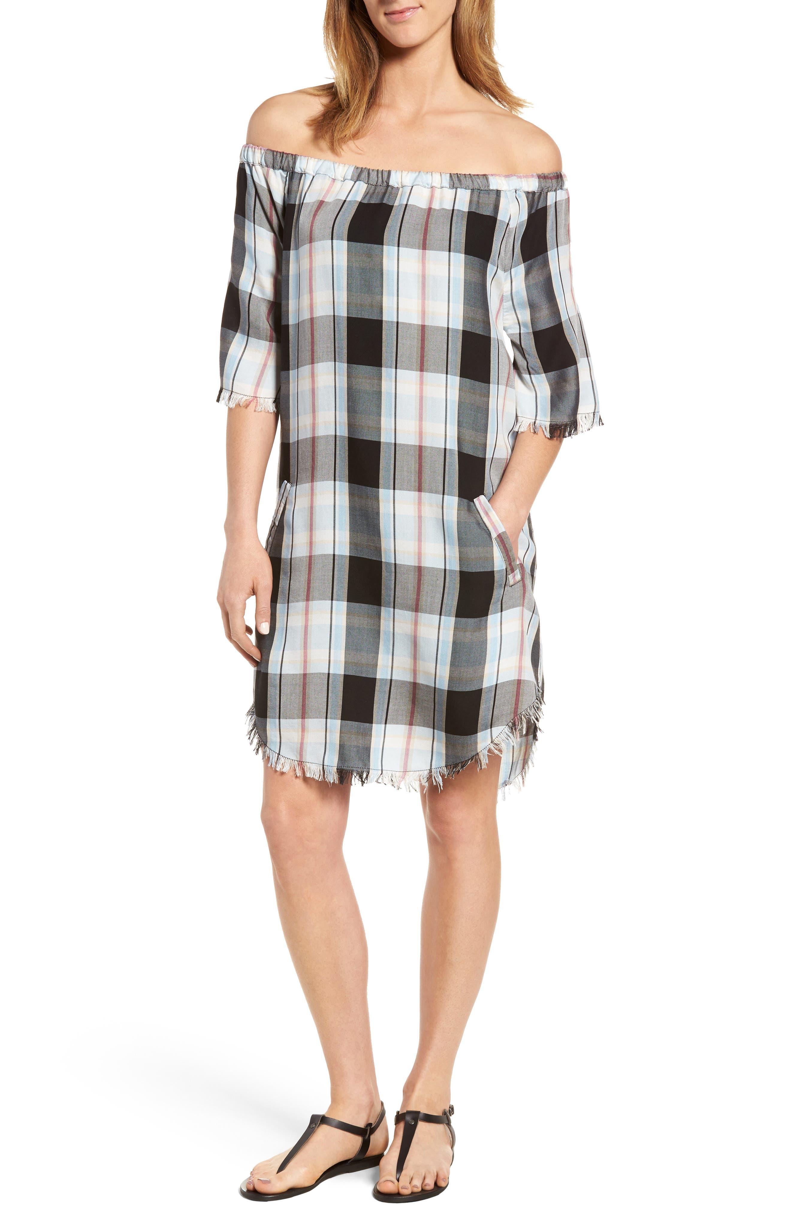 Off the Shoulder Plaid Shift Dress,                         Main,                         color,