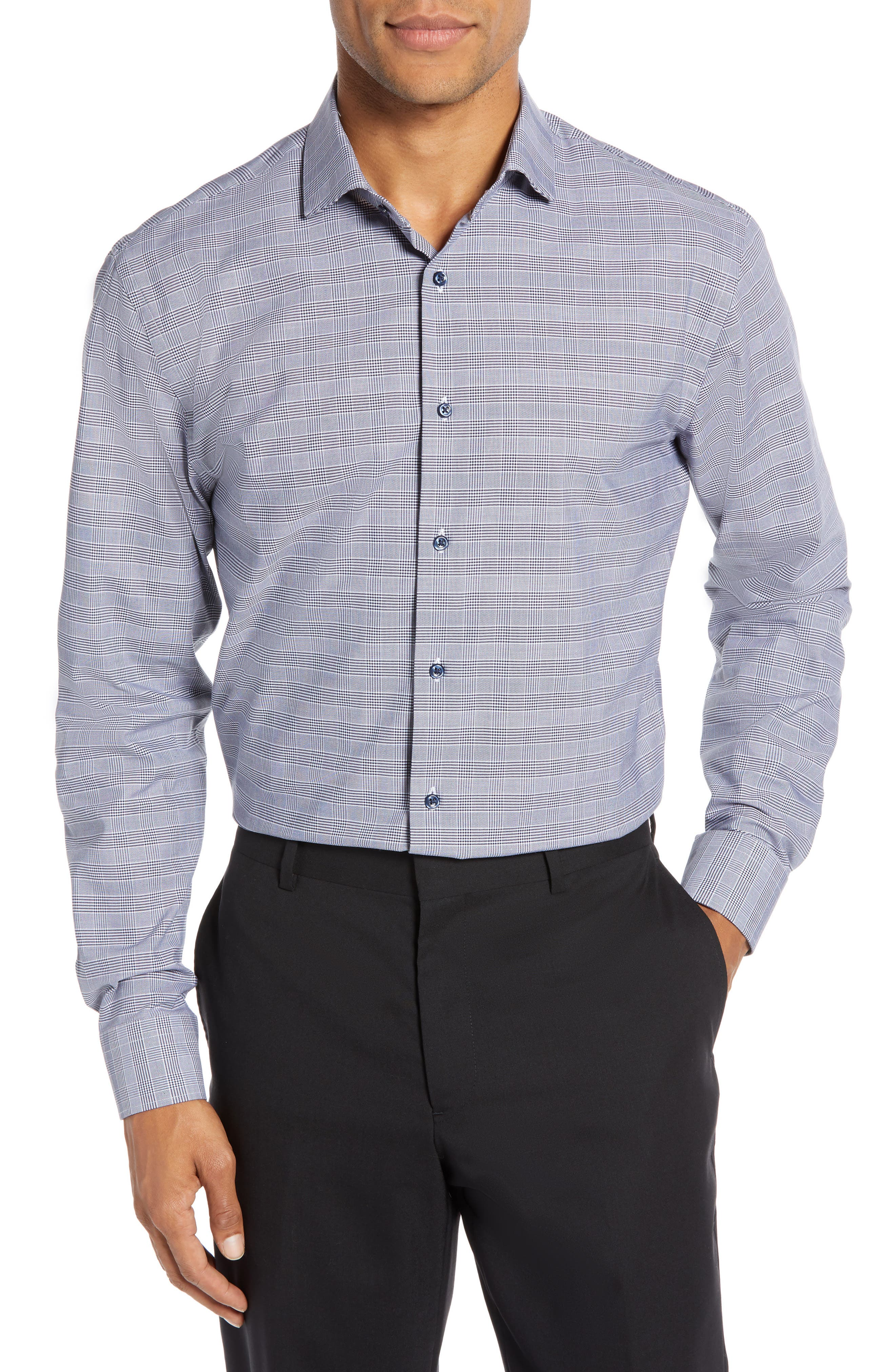 Tech-Smart Trim Fit Stretch Plaid Dress Shirt,                             Main thumbnail 1, color,                             NAVY PEACOAT
