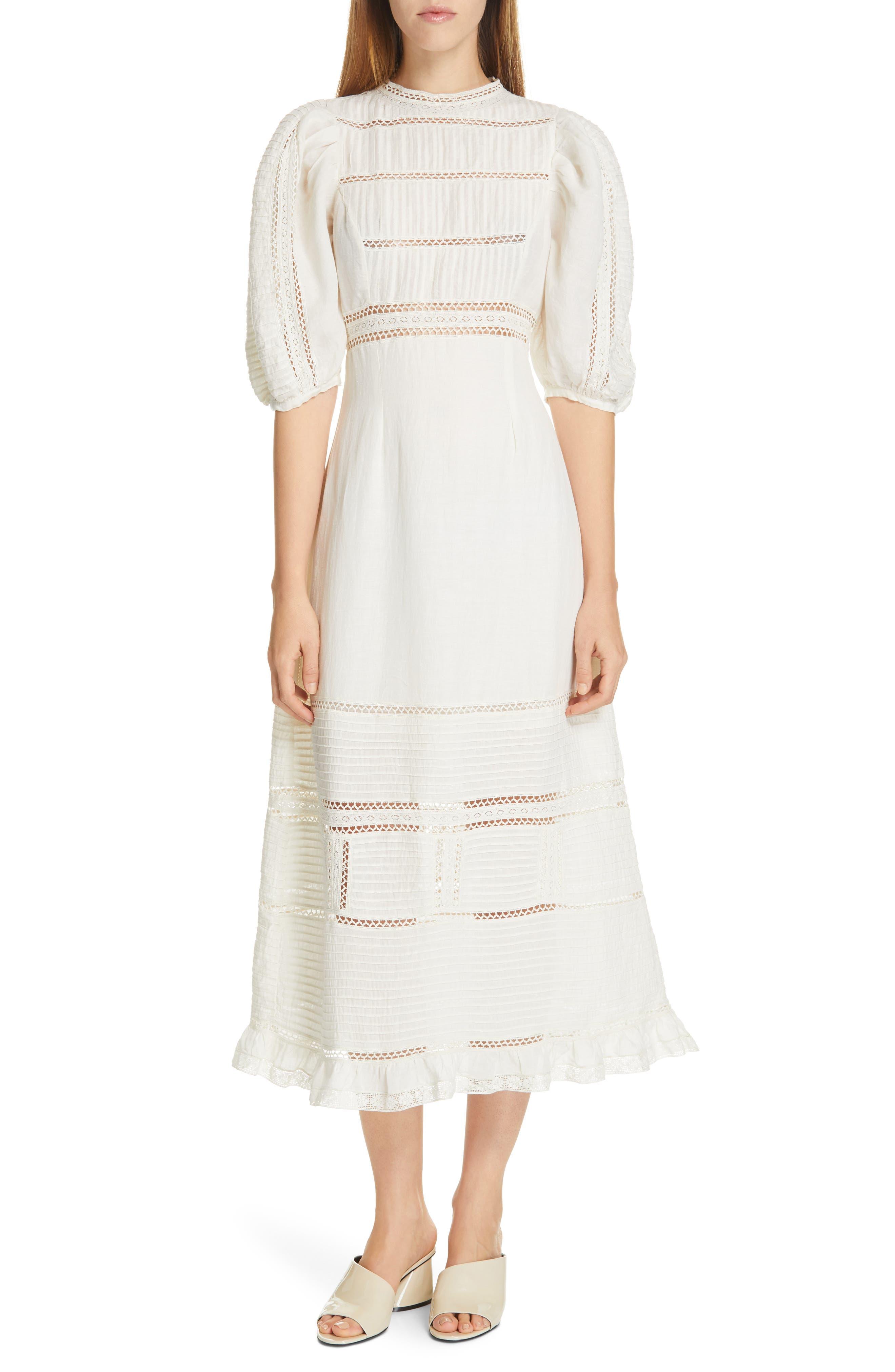 Sea Poppy Pintuck Puff Sleeve Midi Dress, Ivory