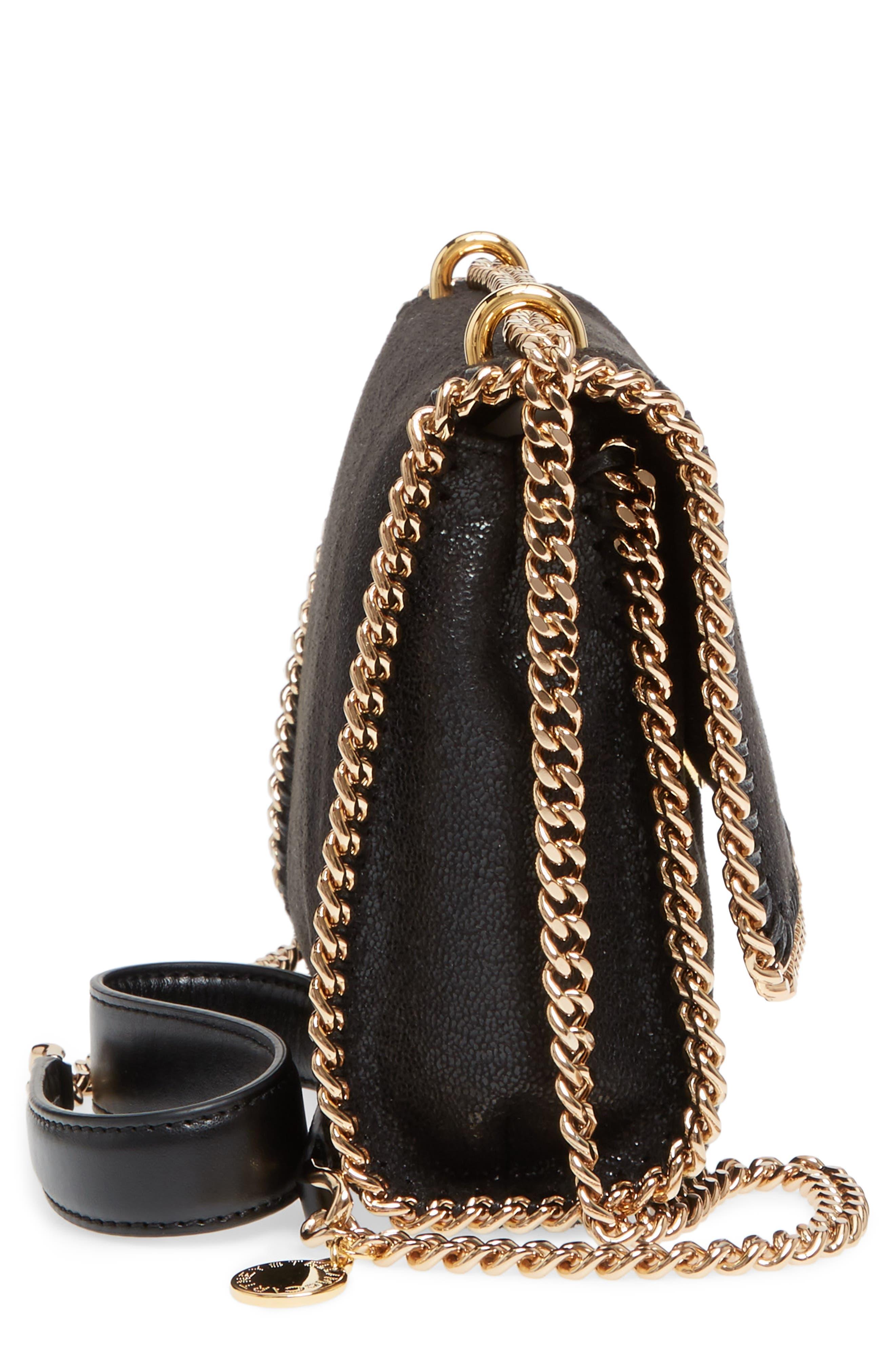 Falabella Shaggy Deer Faux Leather Shoulder Bag,                             Alternate thumbnail 5, color,                             BLACK