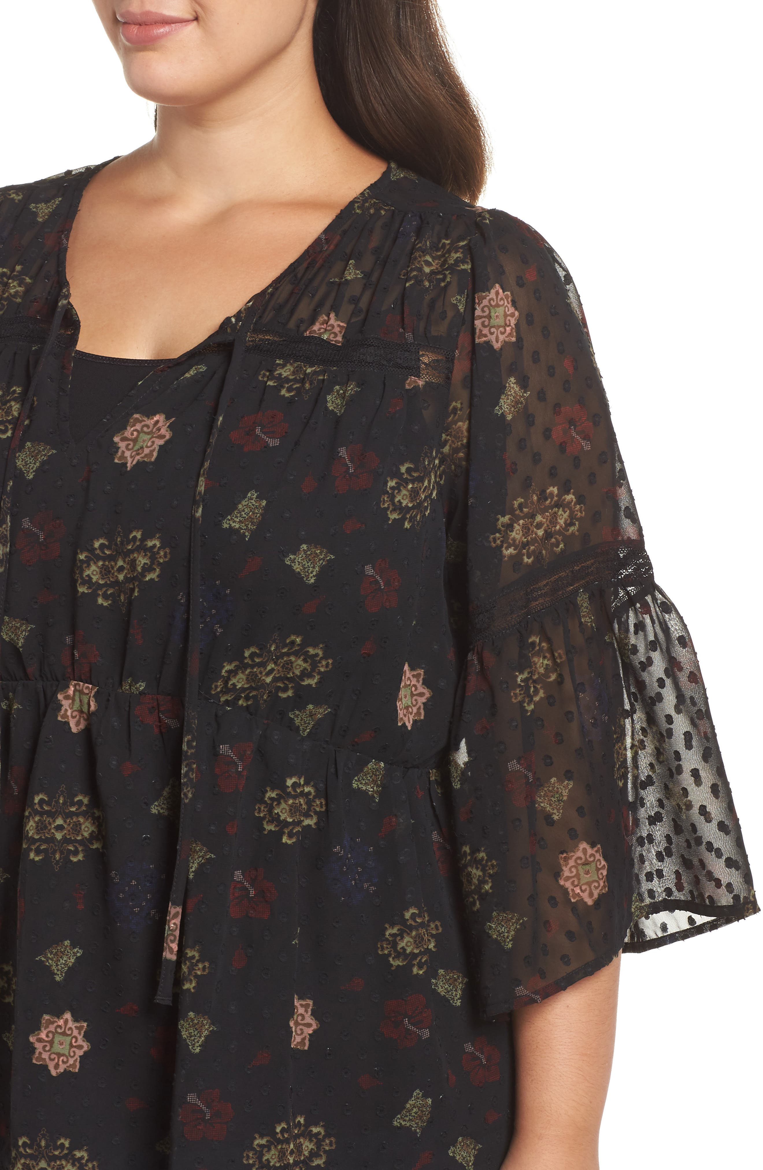 Swiss Dot Floral Top,                             Alternate thumbnail 4, color,                             BLACK MULTI