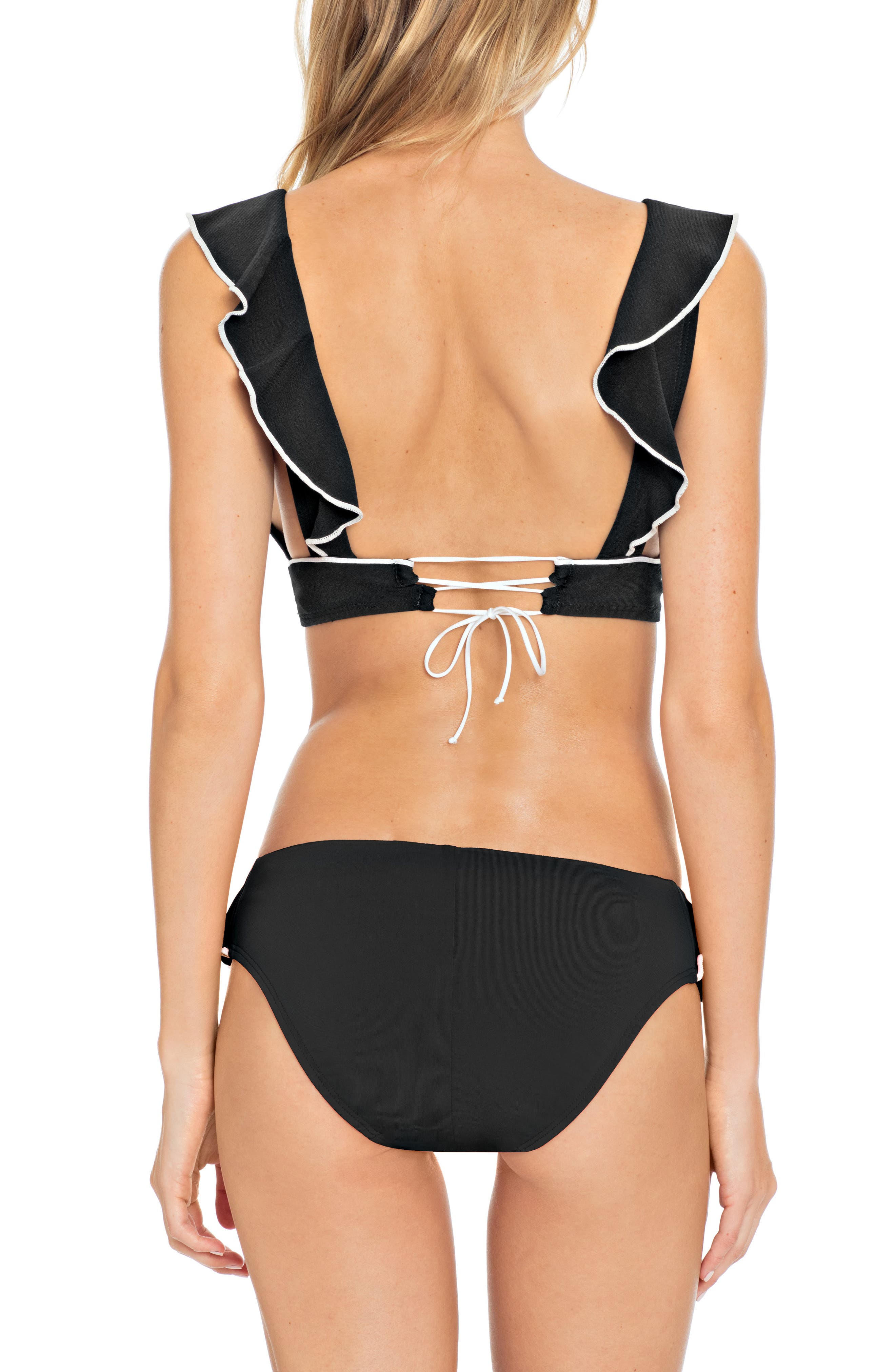 Malia Ruffle Bikini Top,                             Alternate thumbnail 4, color,                             BLACK/ IVORY