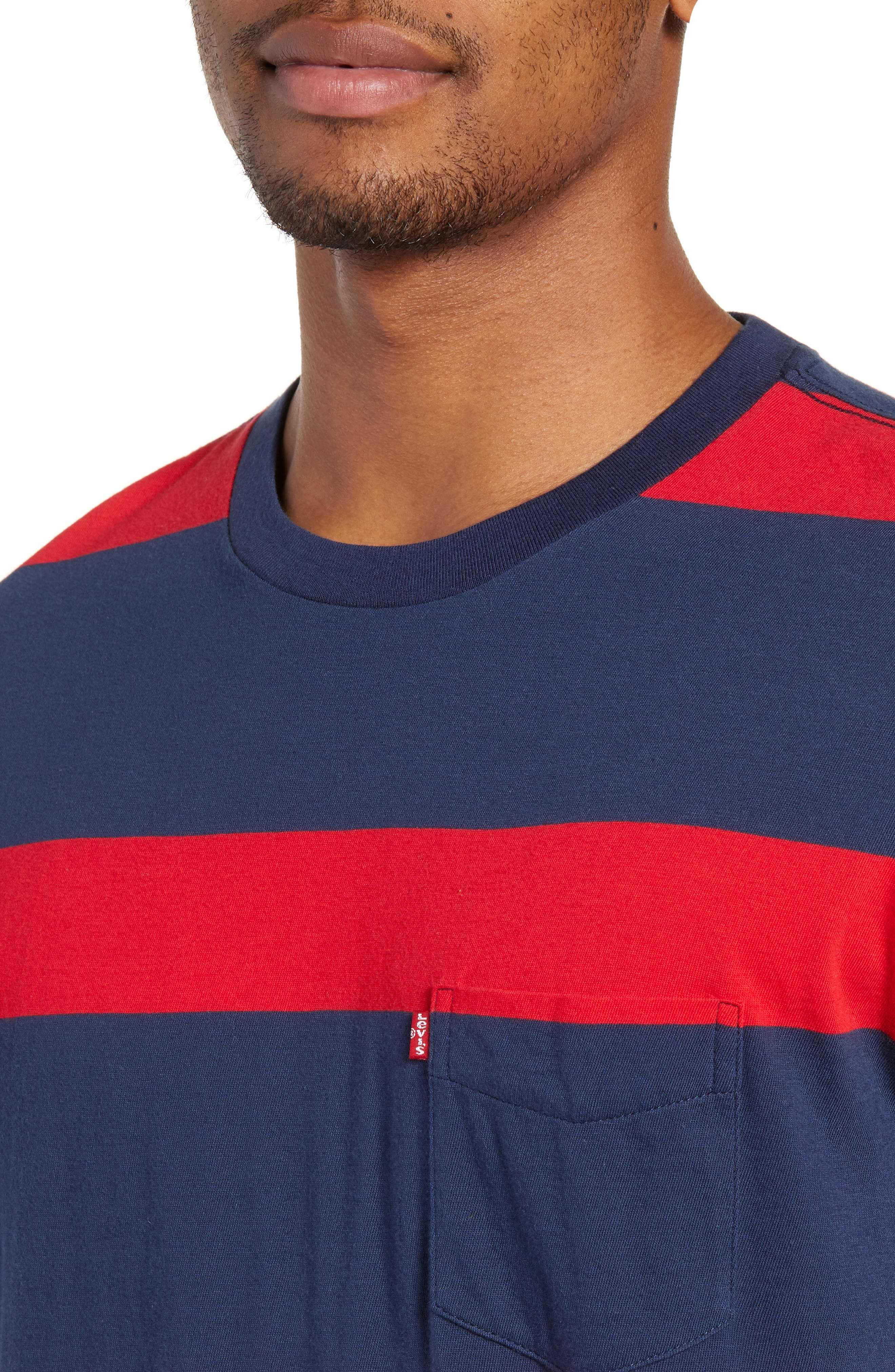 Stripe Pocket T-Shirt,                             Alternate thumbnail 4, color,                             DRESS BLUES/ CRIMSON STRIPES