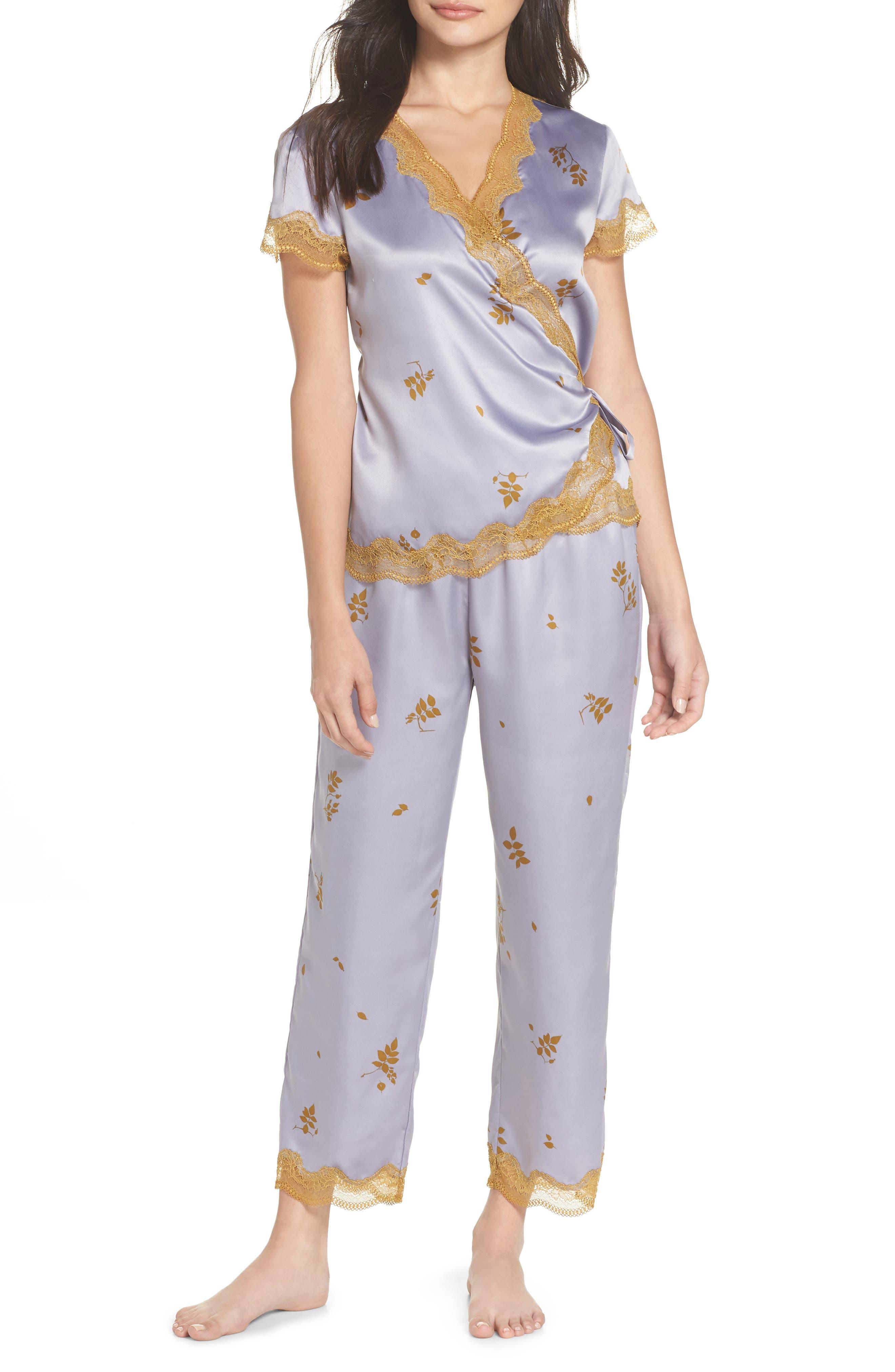 Colette Pajamas,                             Main thumbnail 1, color,                             GREY LILAC FALLING LEAVES