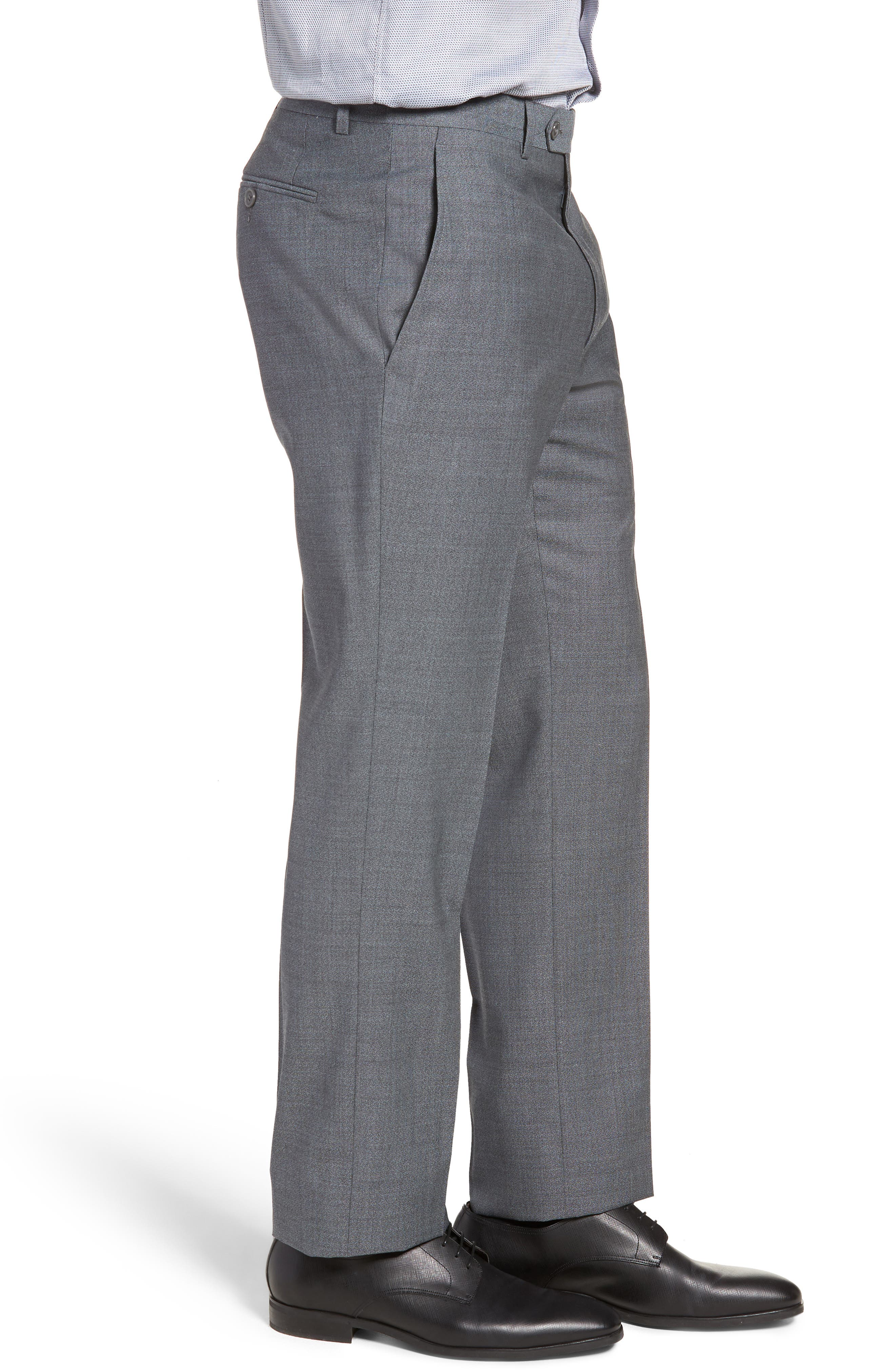 SANTORELLI,                             Flat Front Solid Wool Trousers,                             Alternate thumbnail 3, color,                             020