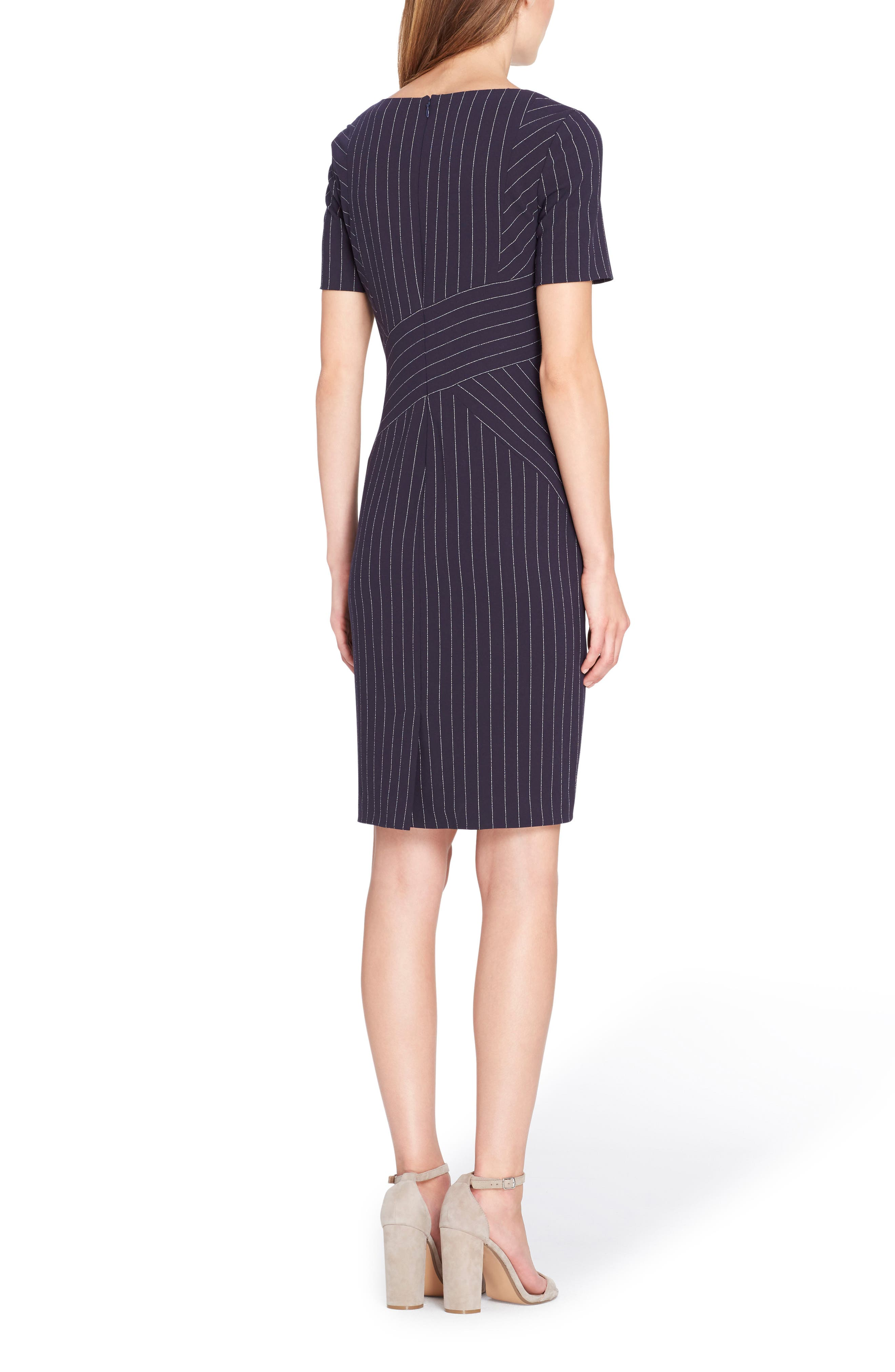 Pinstripe Sheath Dress,                             Alternate thumbnail 2, color,                             423