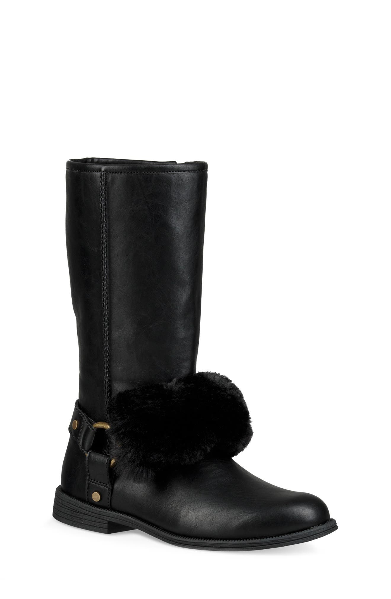 Lili Faux Shearling Boot,                         Main,                         color, BLACK