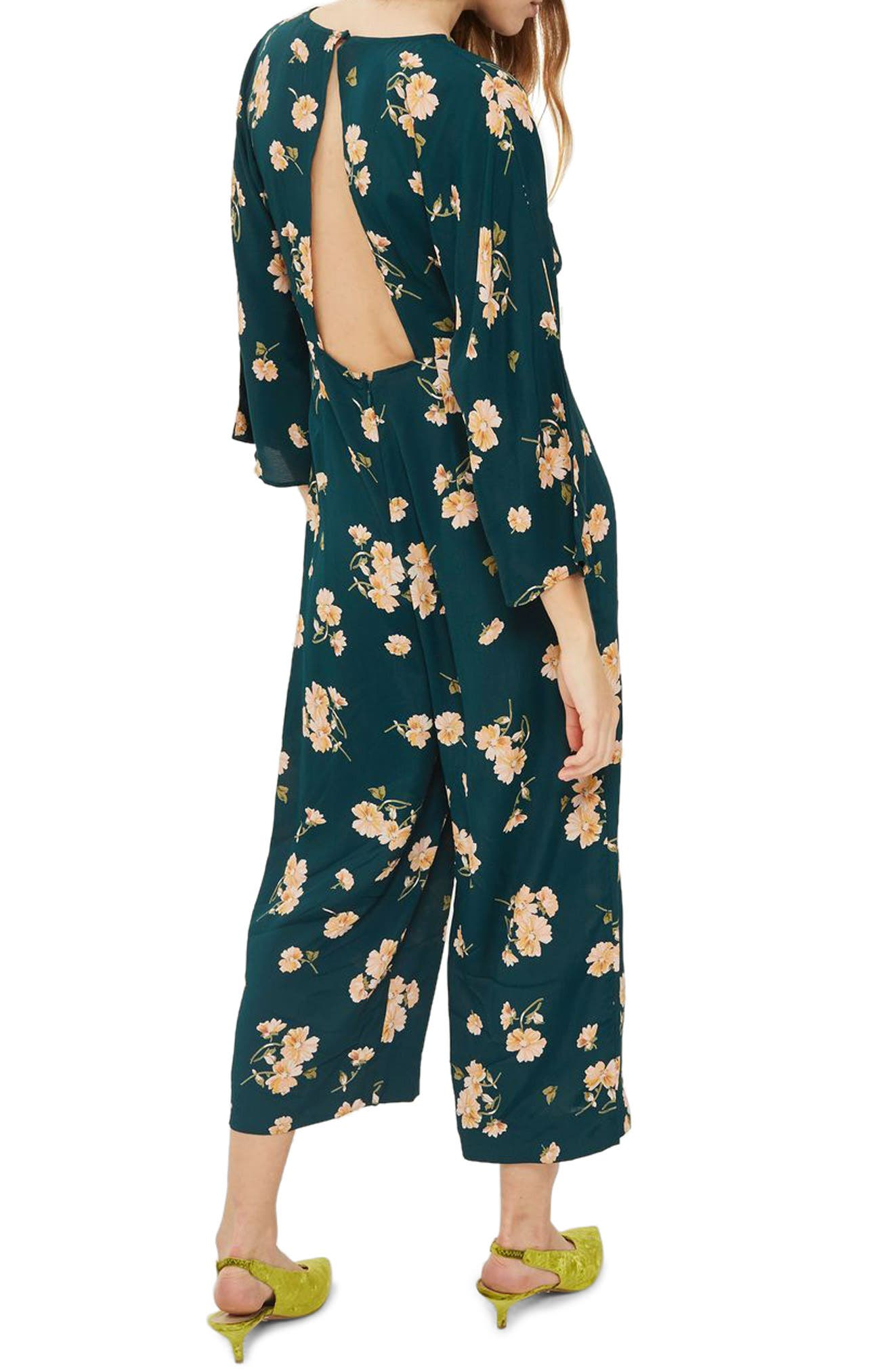 Floral Print Jumpsuit,                             Alternate thumbnail 2, color,                             301
