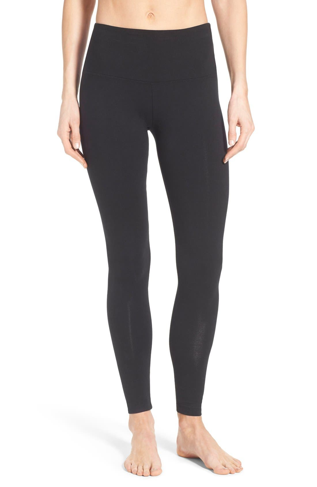 Control Top High Waist Leggings,                         Main,                         color, BLACK SHINE