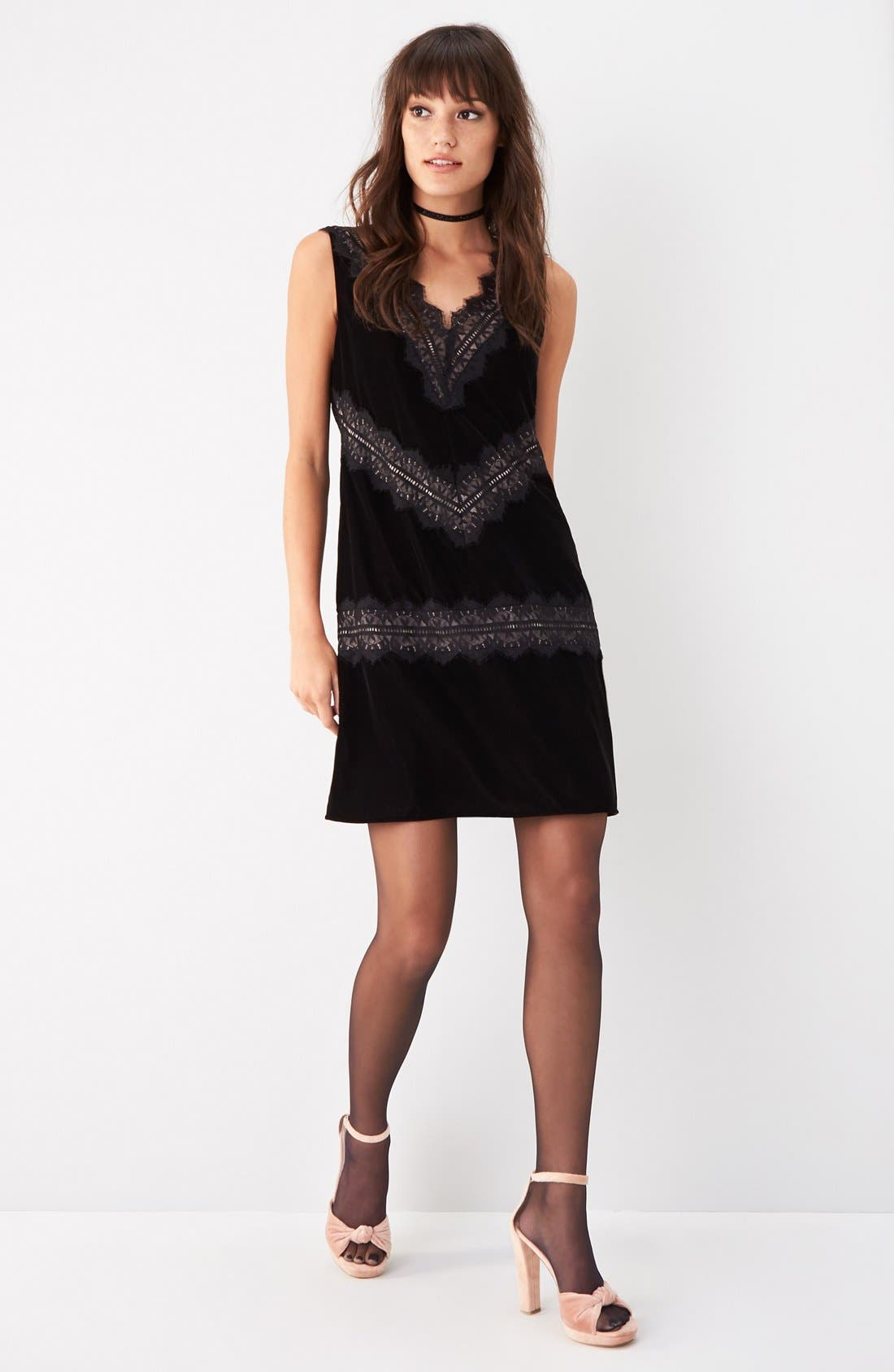 Velvet & Lace Dress,                             Alternate thumbnail 5, color,