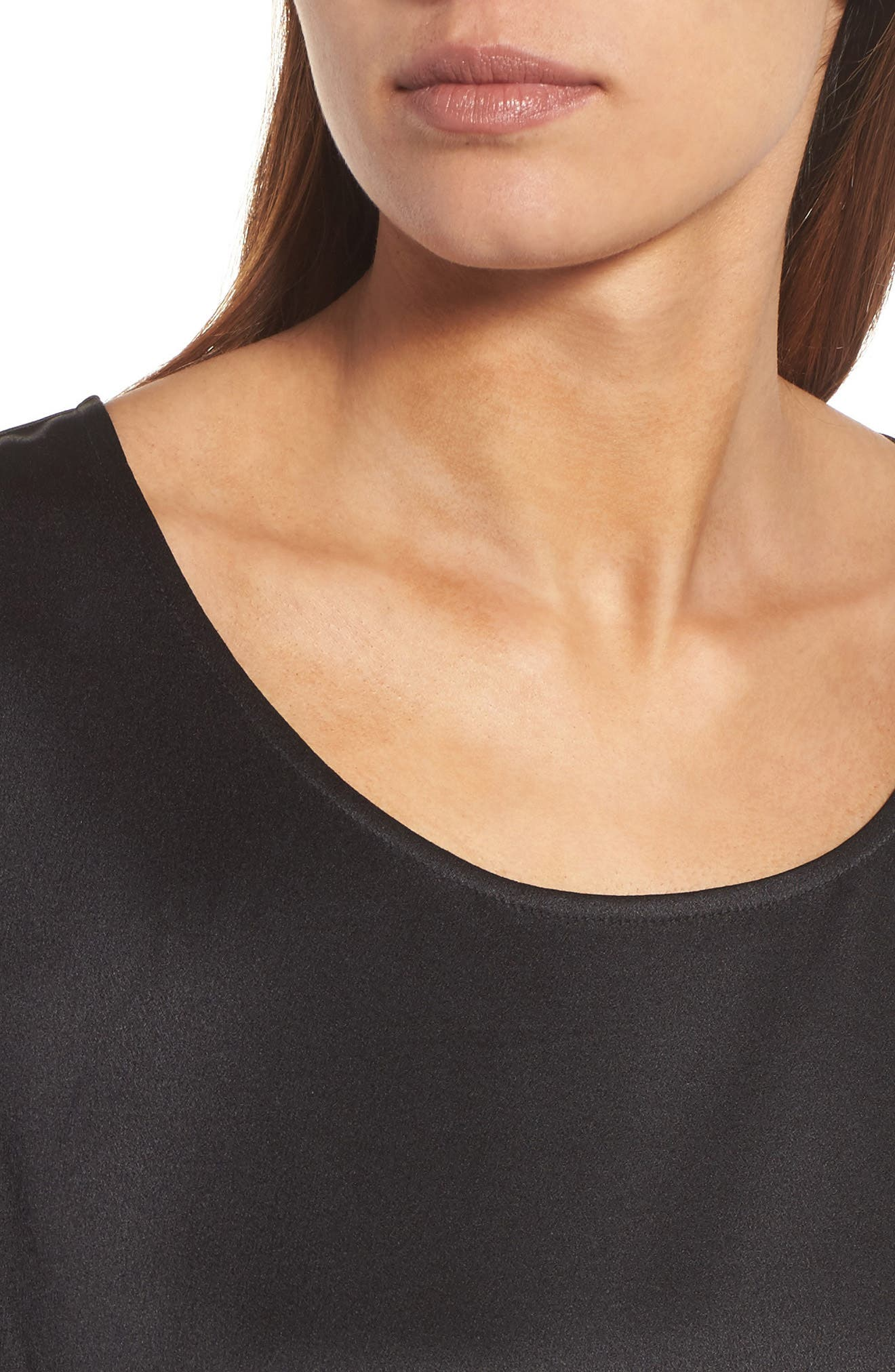 U-Neck Silk Top,                             Alternate thumbnail 4, color,                             001