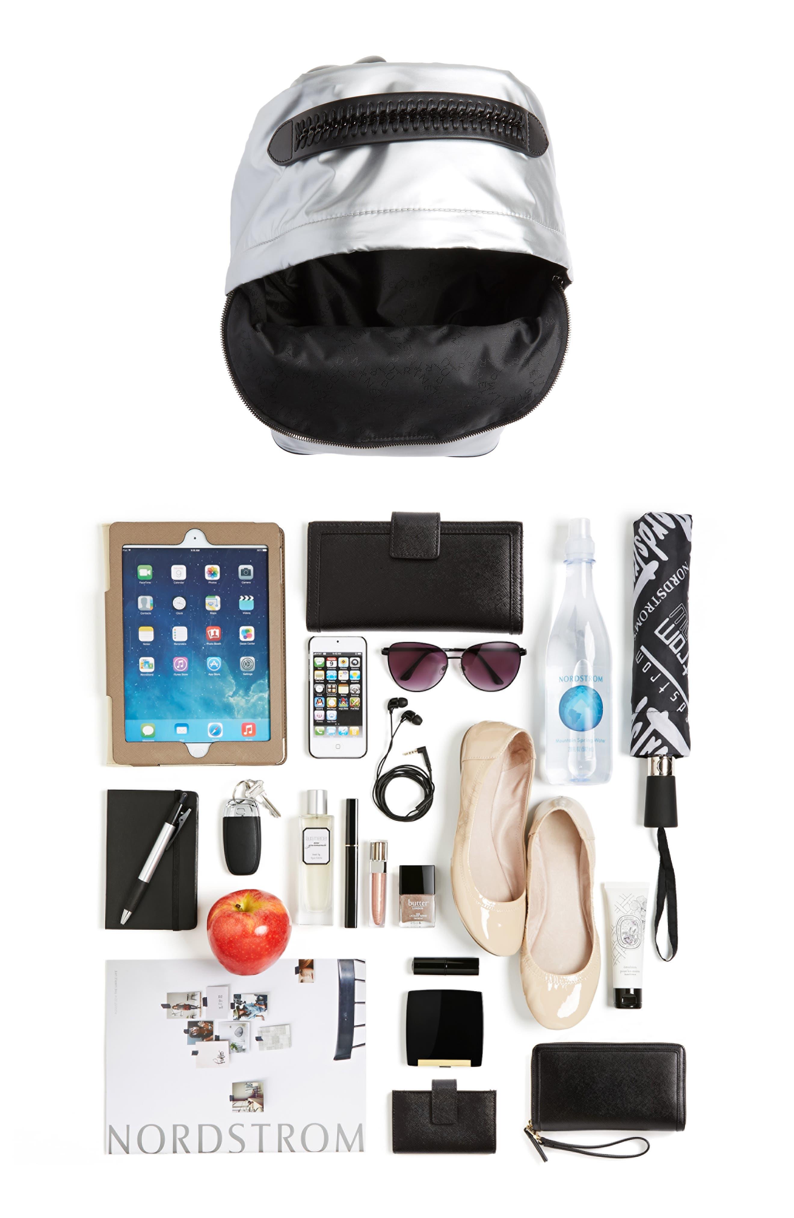 Falabella Metallic Nylon Backpack,                             Alternate thumbnail 7, color,                             045