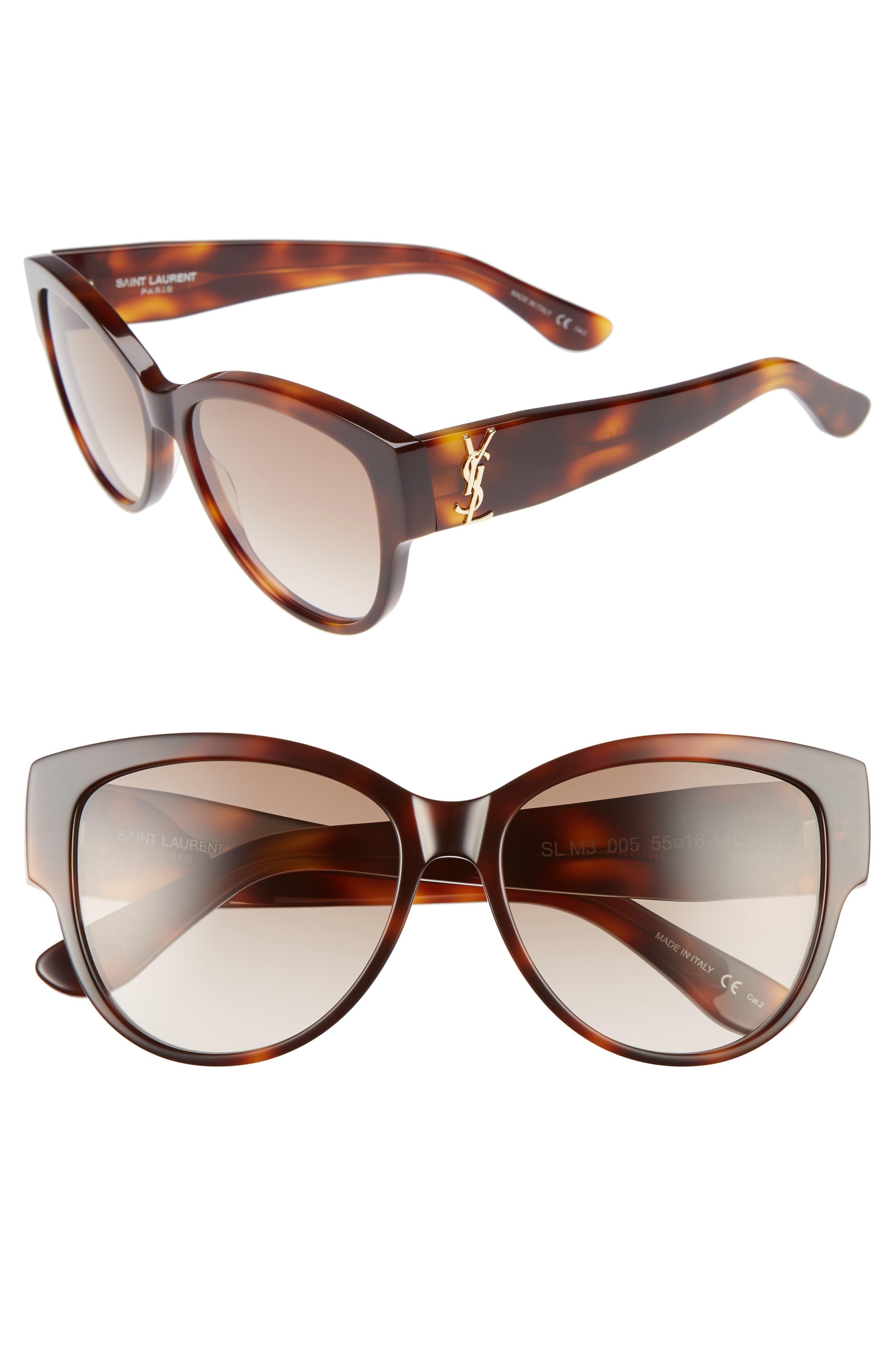55mm Cat Eye Sunglasses,                             Main thumbnail 3, color,