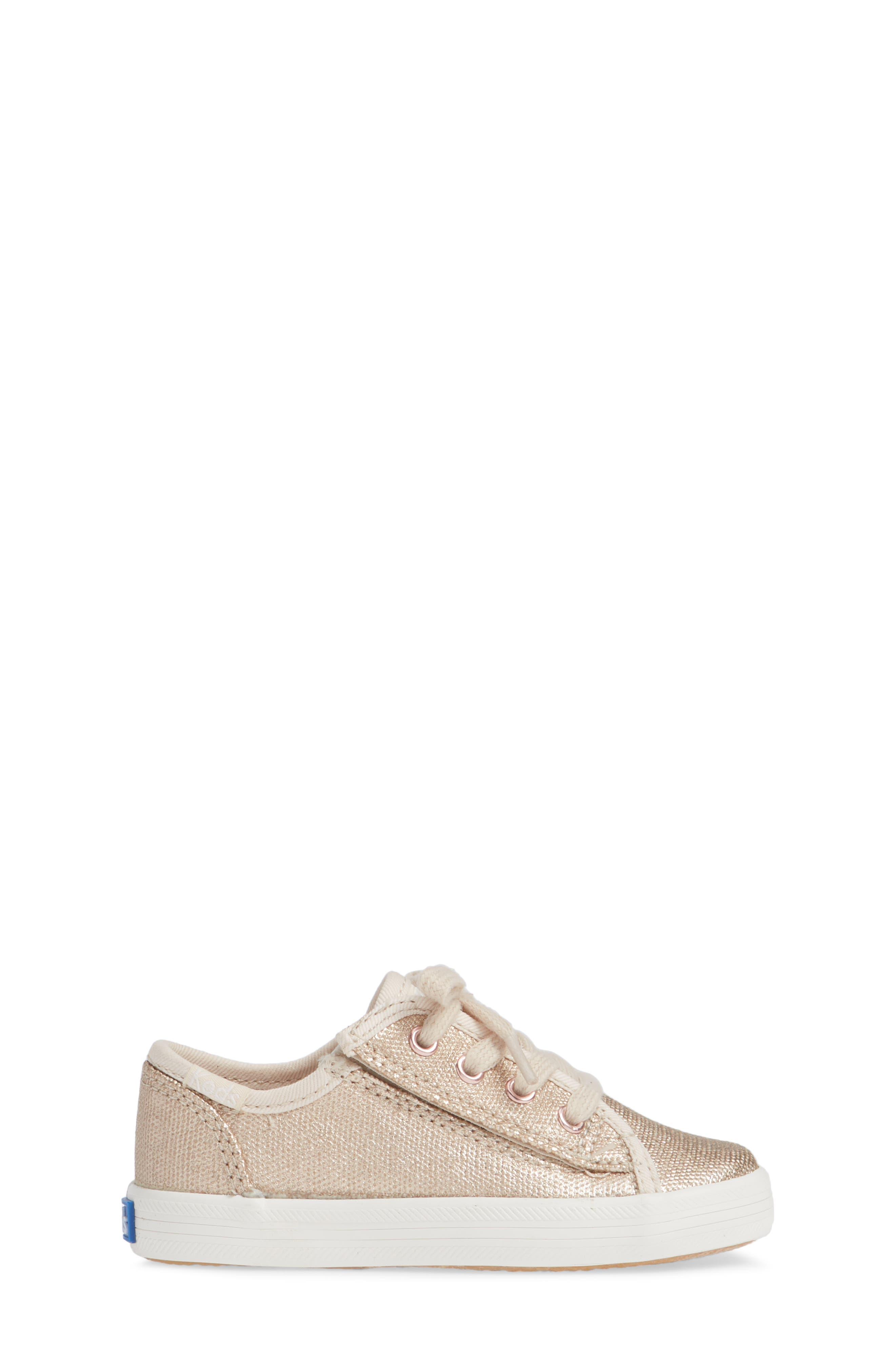 Kickstart Core Metallic Sneaker,                             Alternate thumbnail 3, color,                             ROSE GOLD