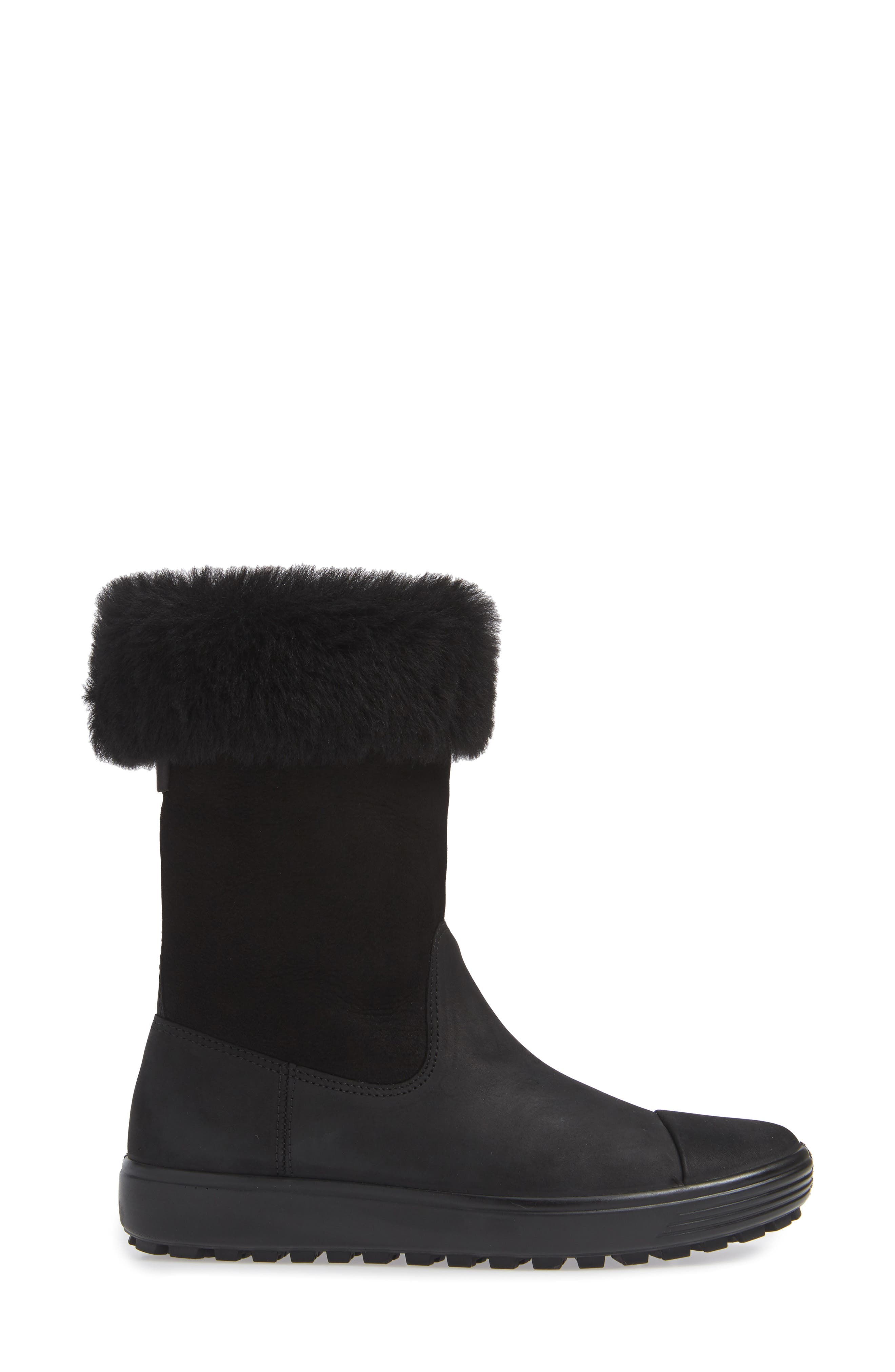 Soft 7 Tred Waterproof Genuine Shearling Lined Boot,                             Alternate thumbnail 4, color,                             BLACK NUBUCK LEATHER