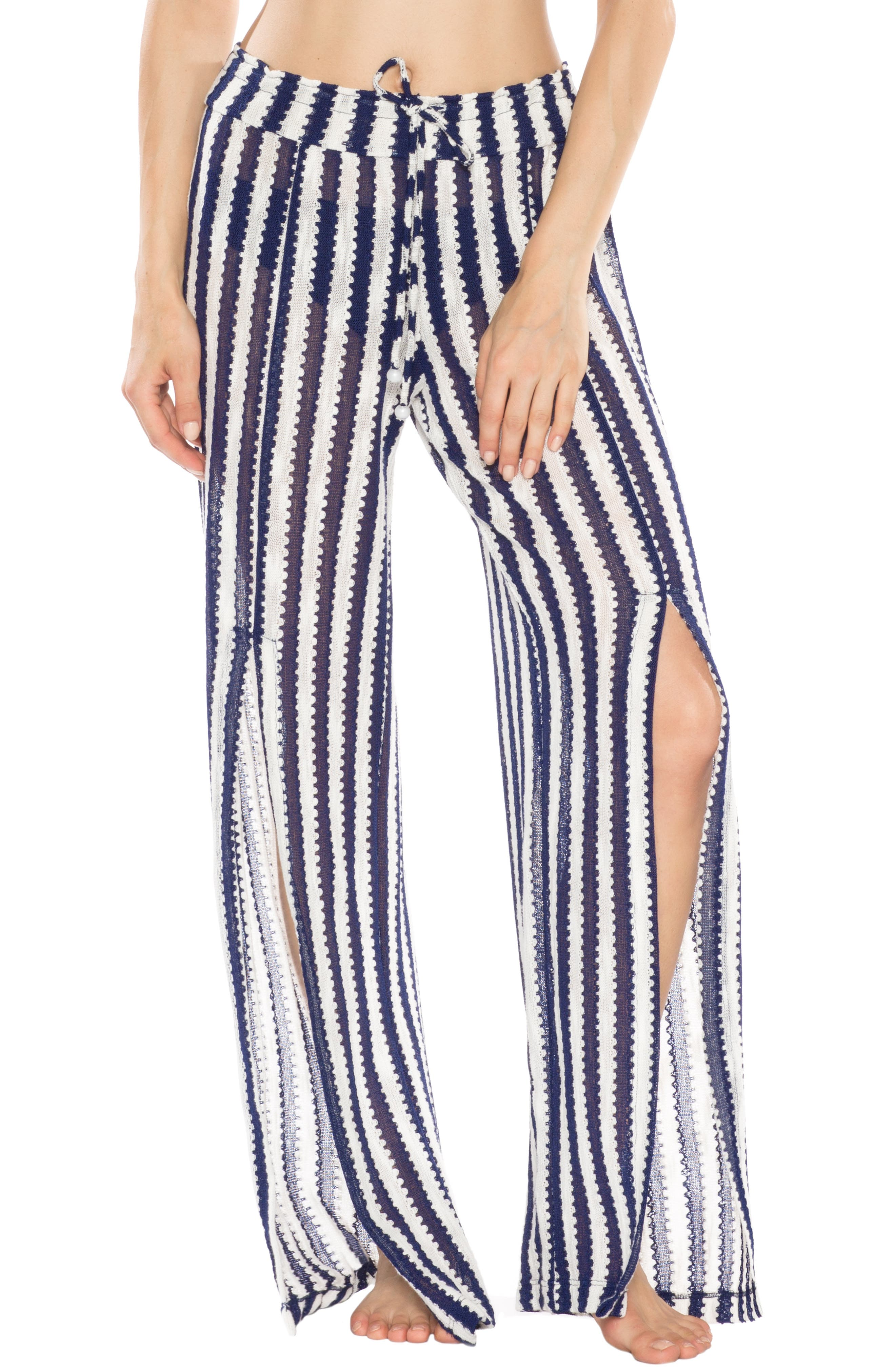 ISABELLA ROSE Ships Ahoy Cover-Up Pants in Navy/ White