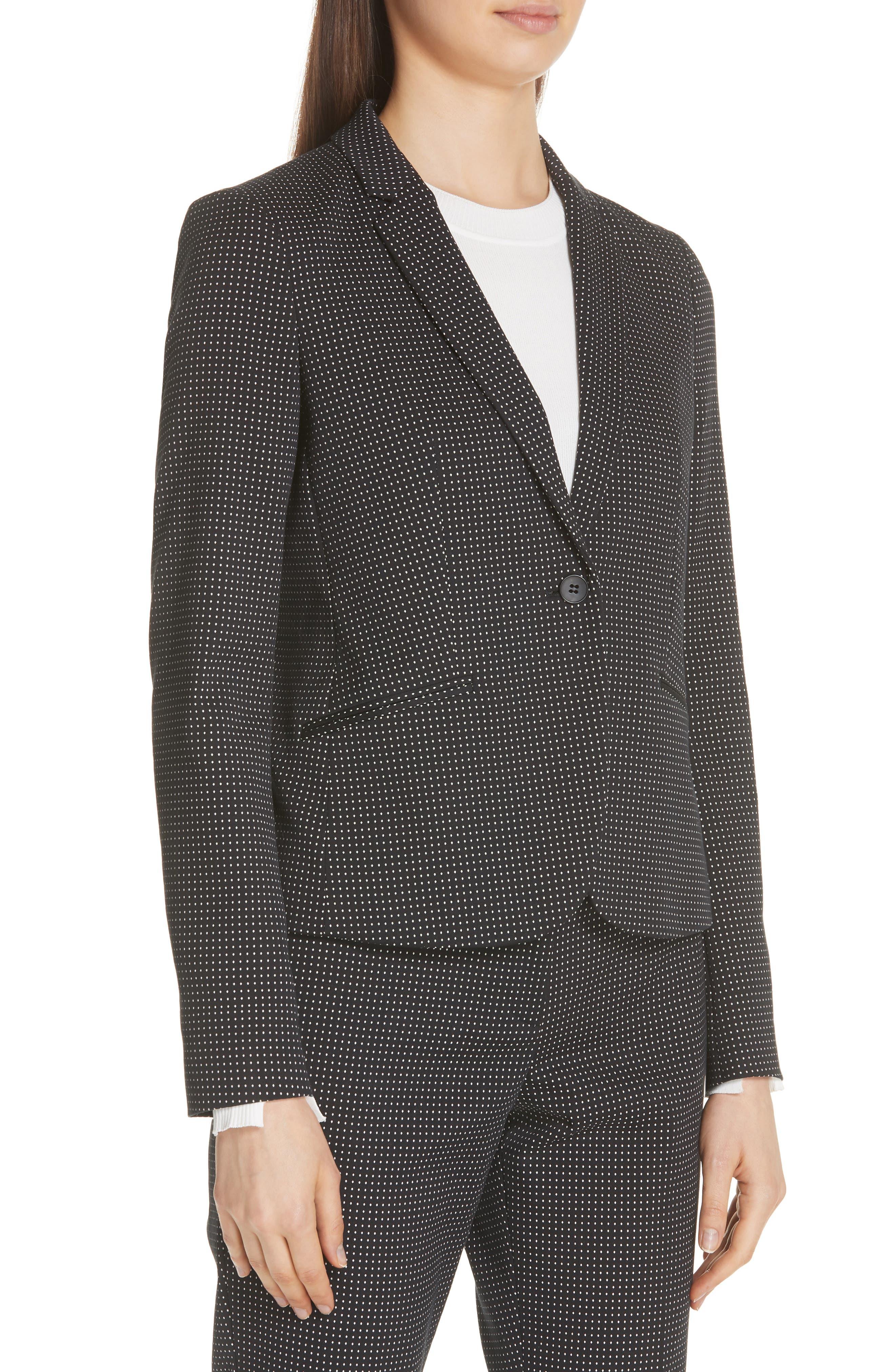 Jumano Dot Stretch Jacket,                             Alternate thumbnail 4, color,                             BLACK FANTASY