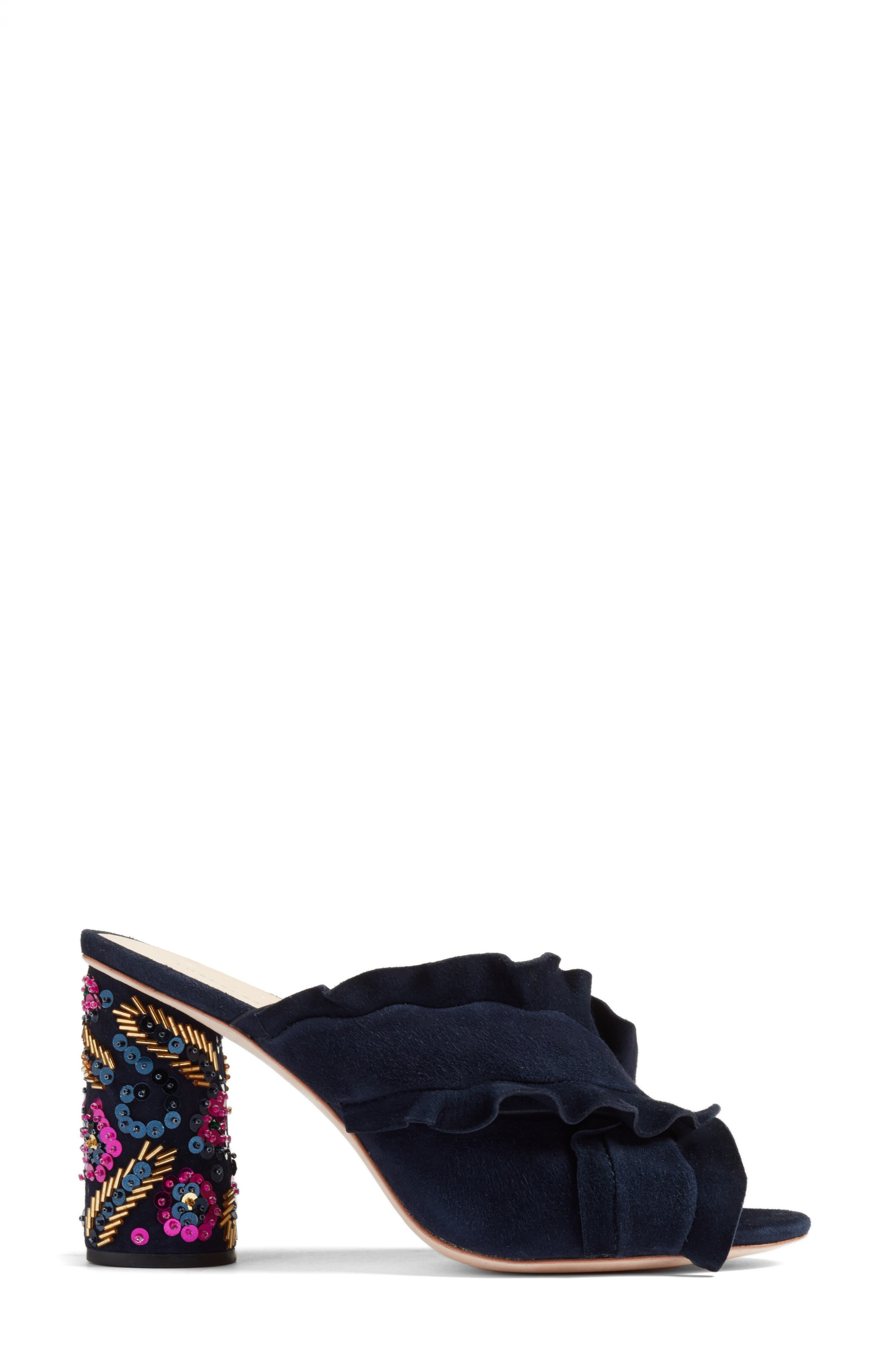 Kaya Embellished Ruffle Slide Sandal,                             Alternate thumbnail 3, color,                             499