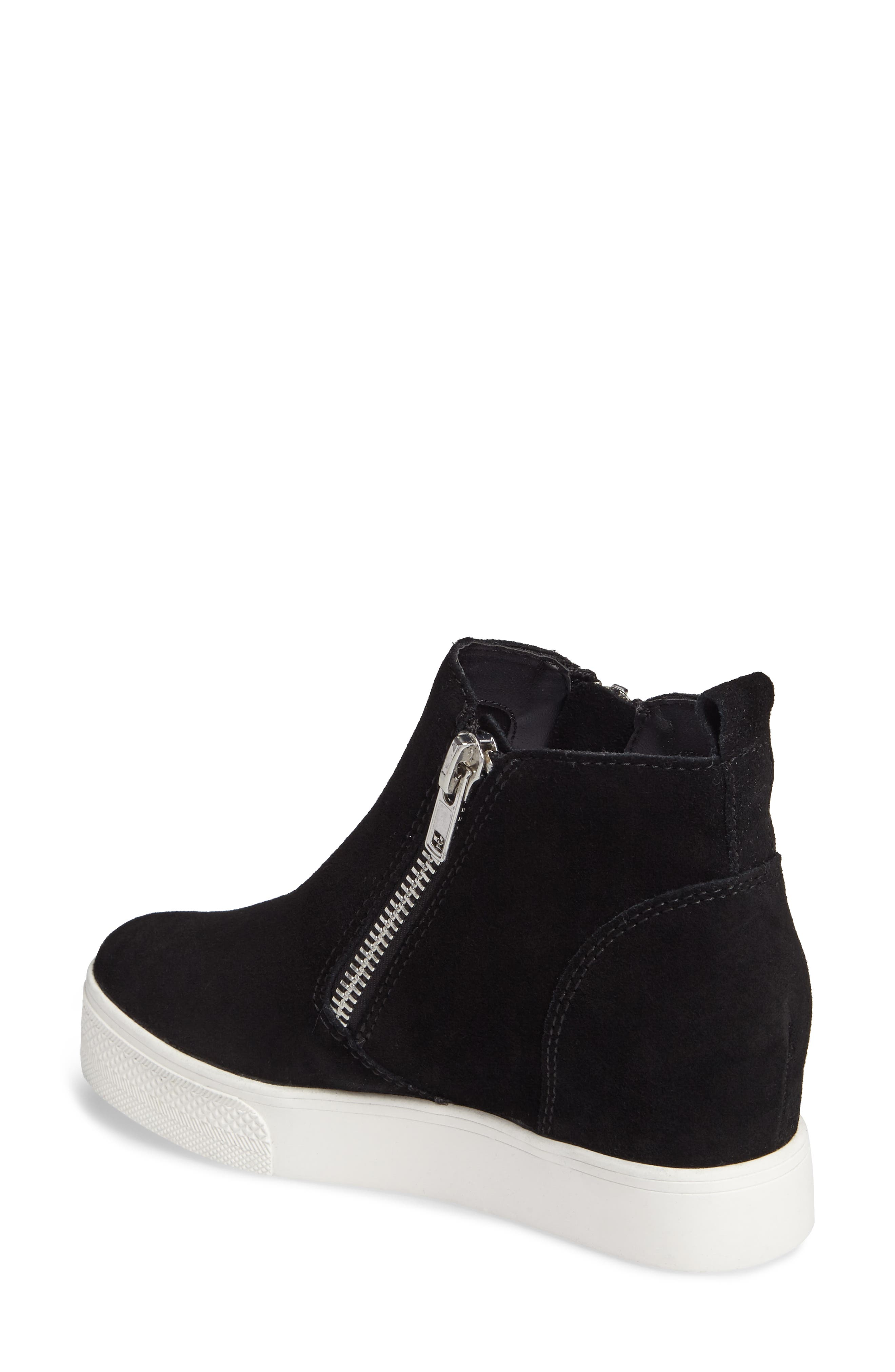 Wedgie High Top Platform Sneaker,                             Alternate thumbnail 2, color,                             BLACK SUEDE