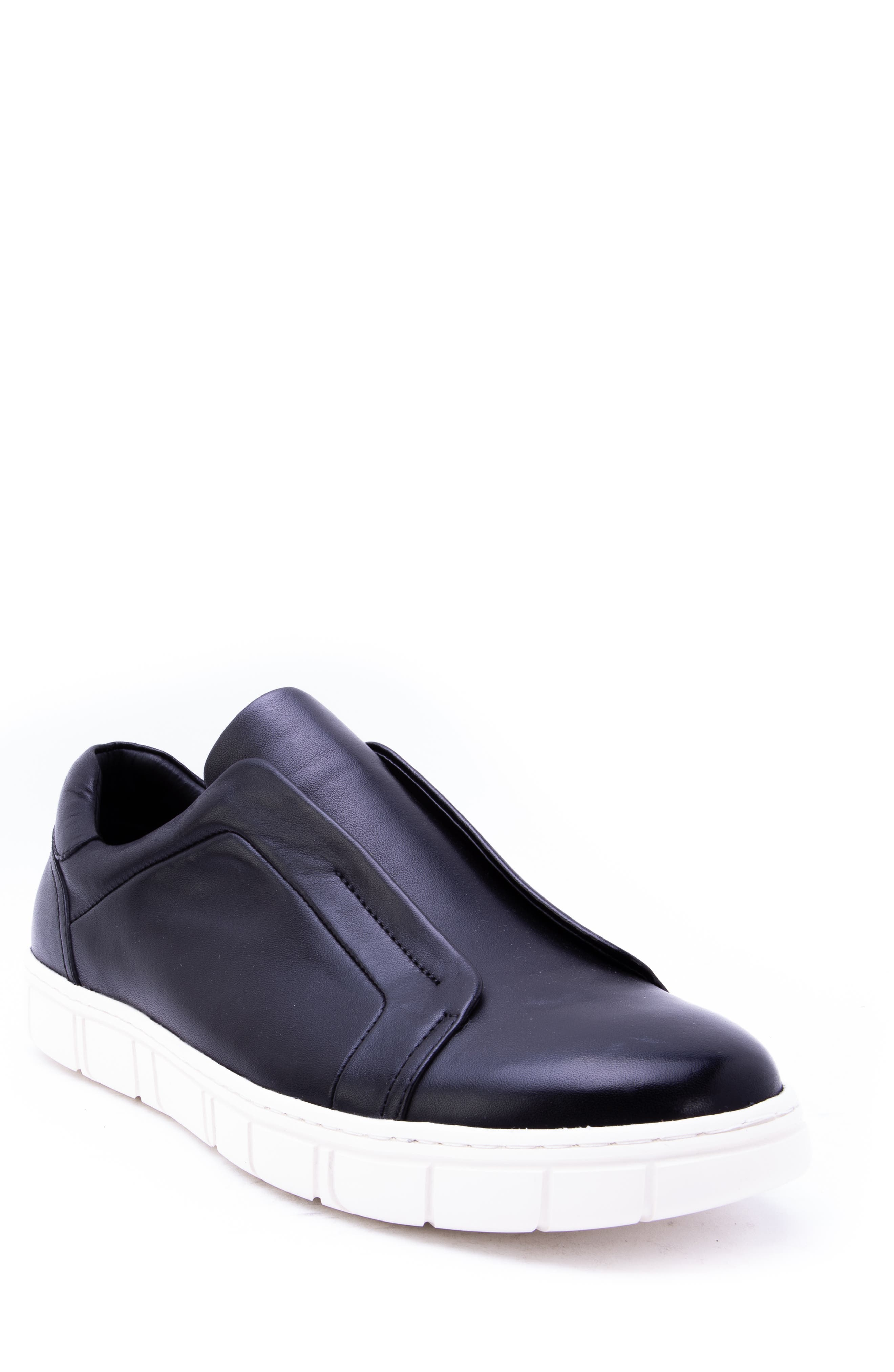 Sorgh Laceless Sneaker,                         Main,                         color, BLACK LEATHER